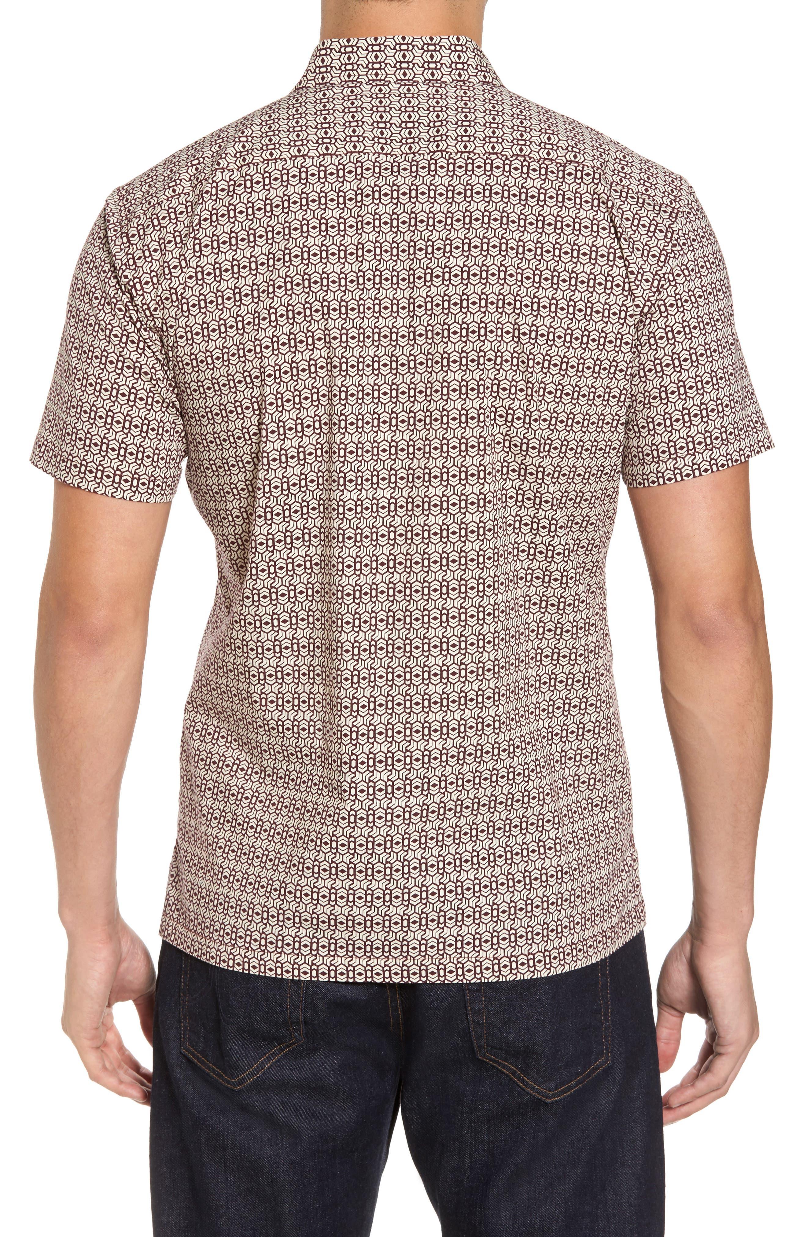 Chevrons Slim Fit Camp Shirt,                             Alternate thumbnail 2, color,