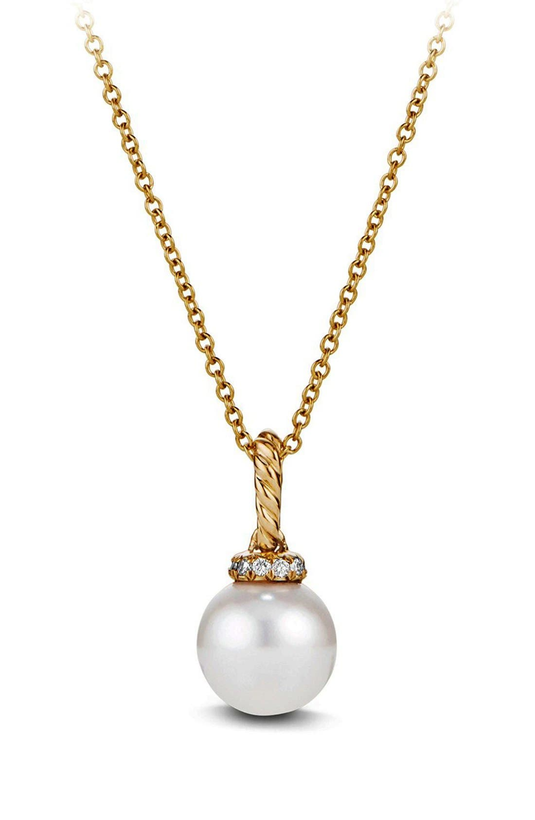 'Solari' Pendant Necklace with Pearls and Diamonds in 18K Gold,                         Main,                         color, PEARL