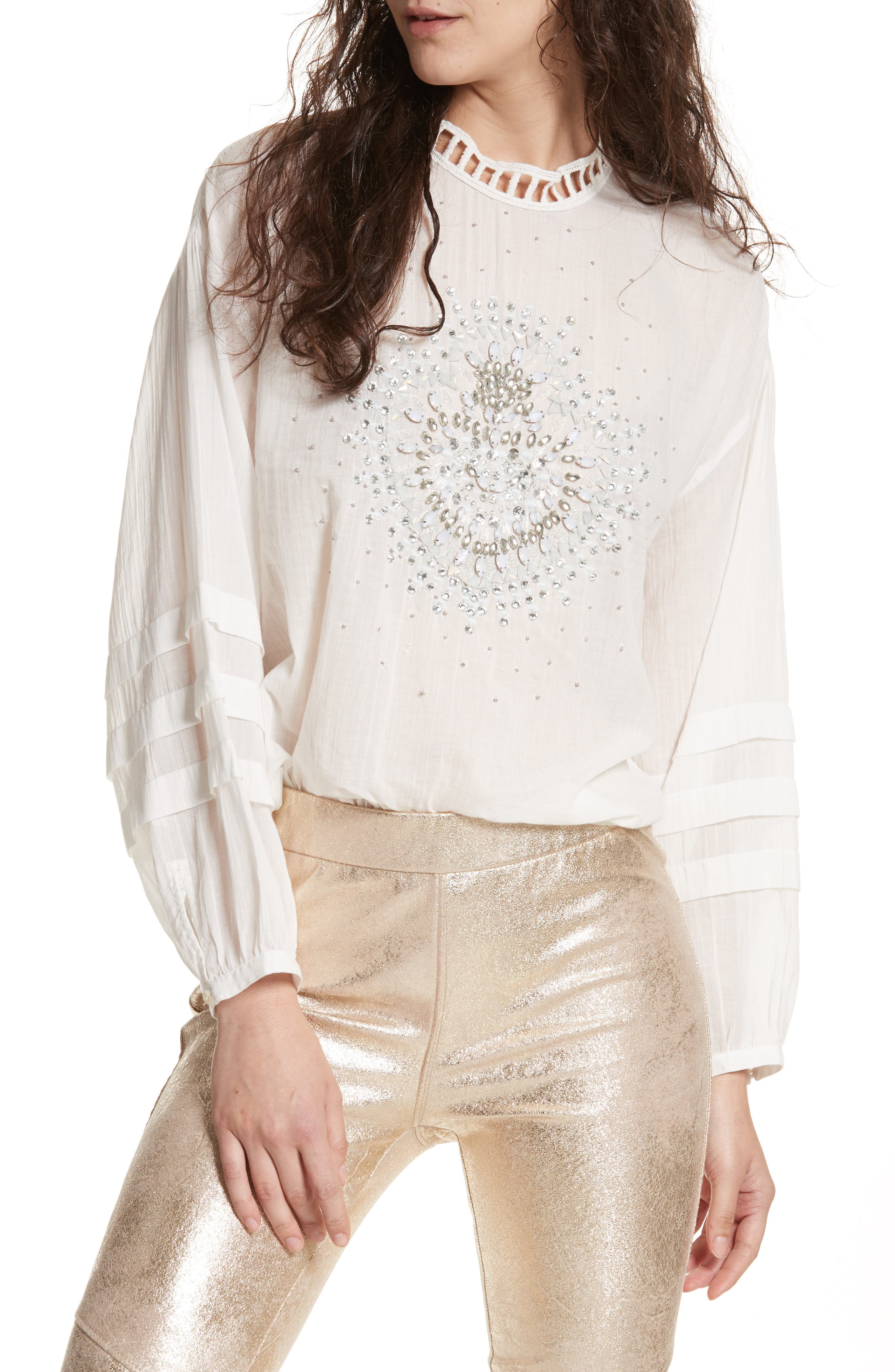 Heart of Gold Embellished Blouse,                             Main thumbnail 1, color,