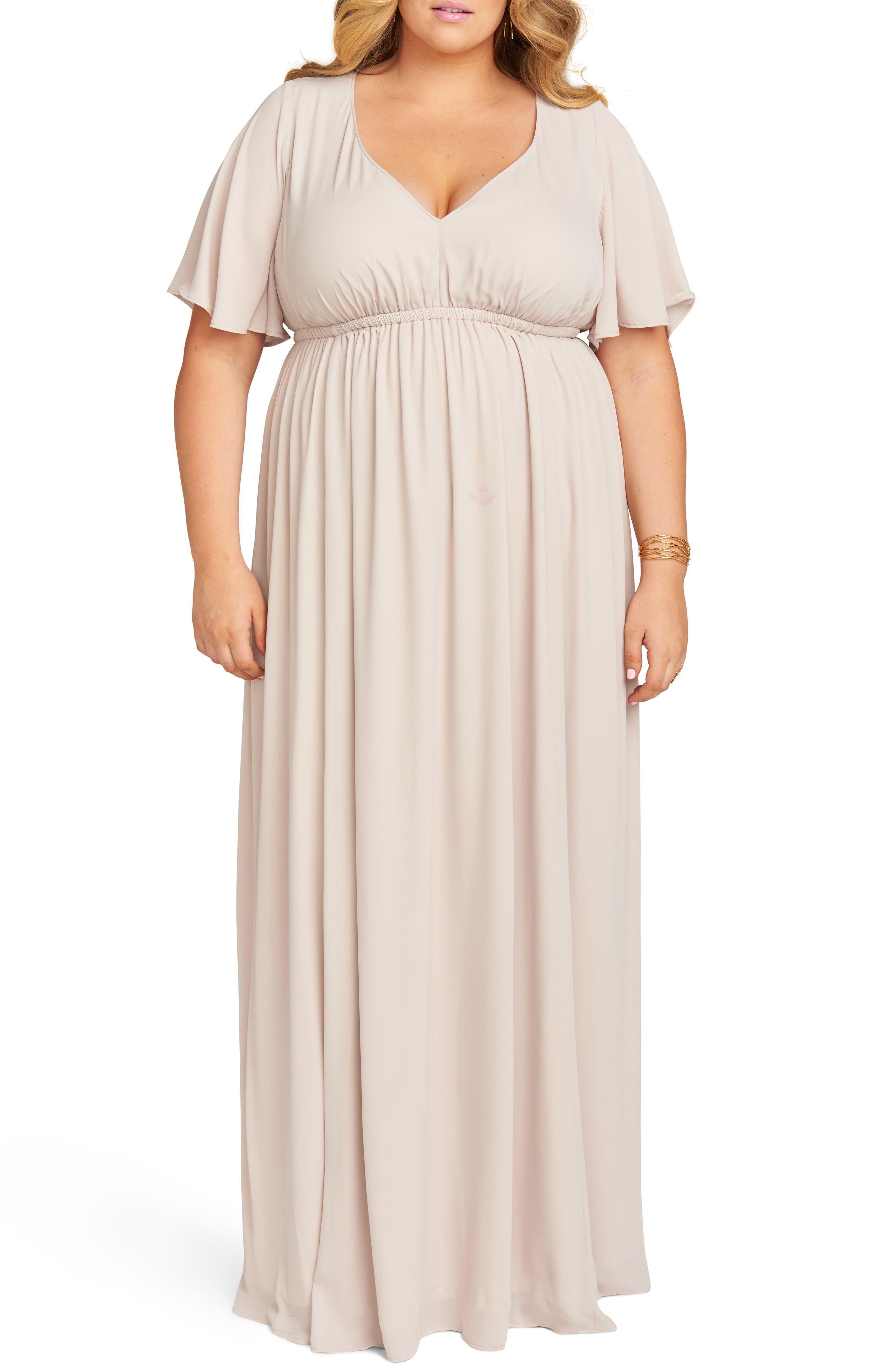 Plus Size Show Me Your Mumu Emily Evening Dress, Beige