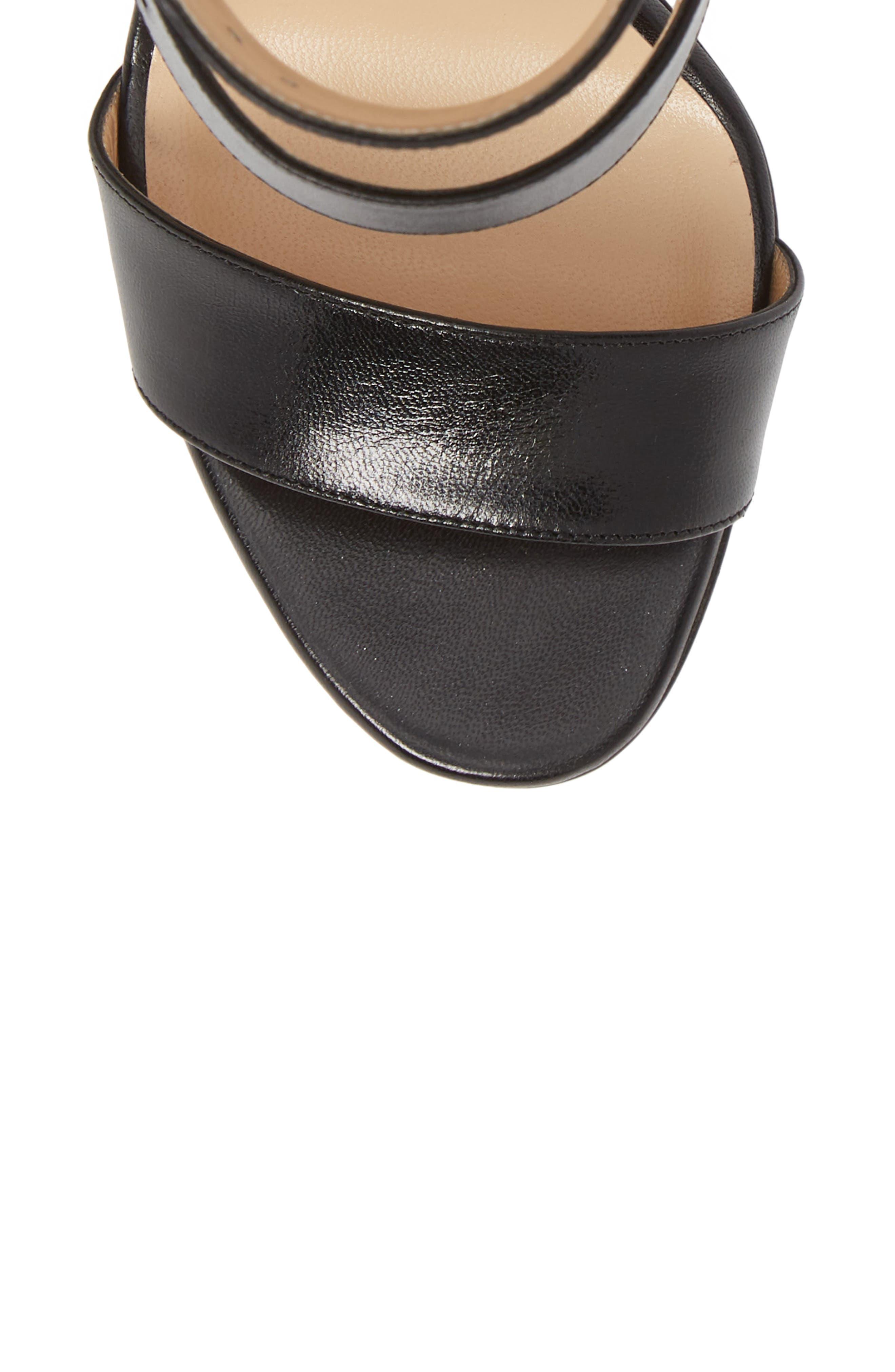 Multipot Buckle Sandal,                             Alternate thumbnail 5, color,                             BLACK LEATHER