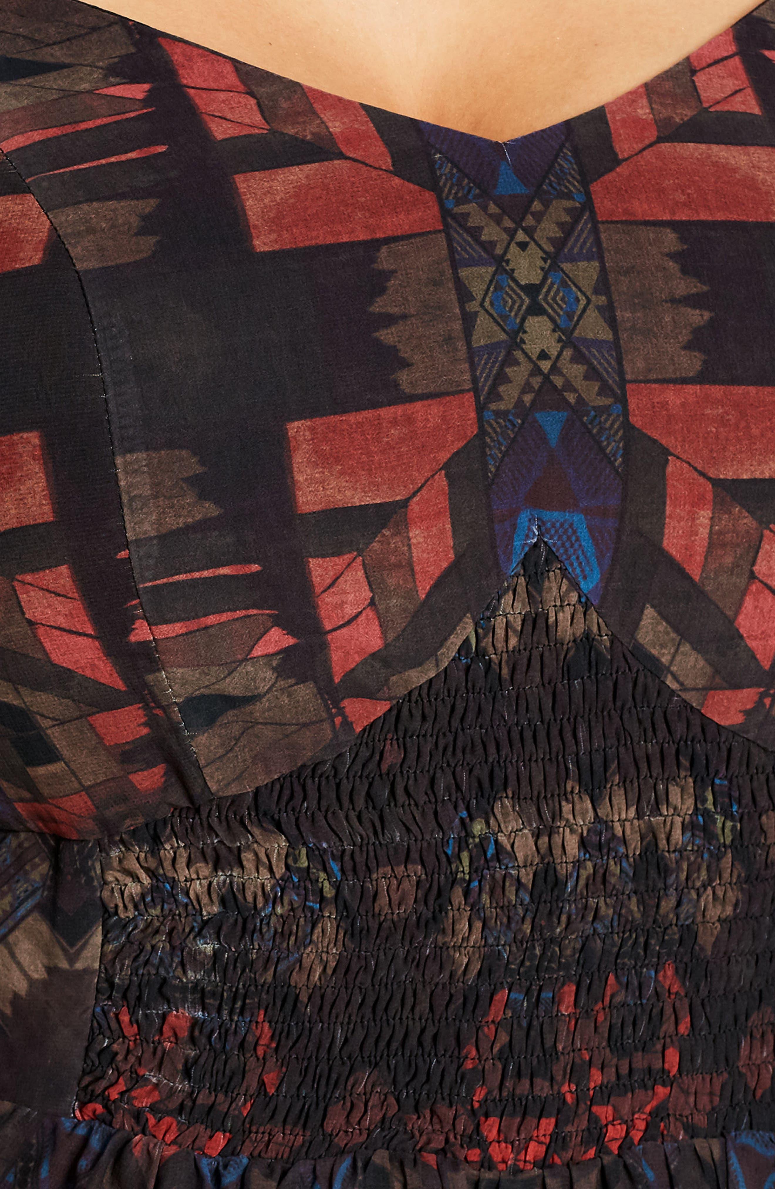 Aztec Warrior Smocked Waist Maxi Dress,                             Alternate thumbnail 4, color,                             001