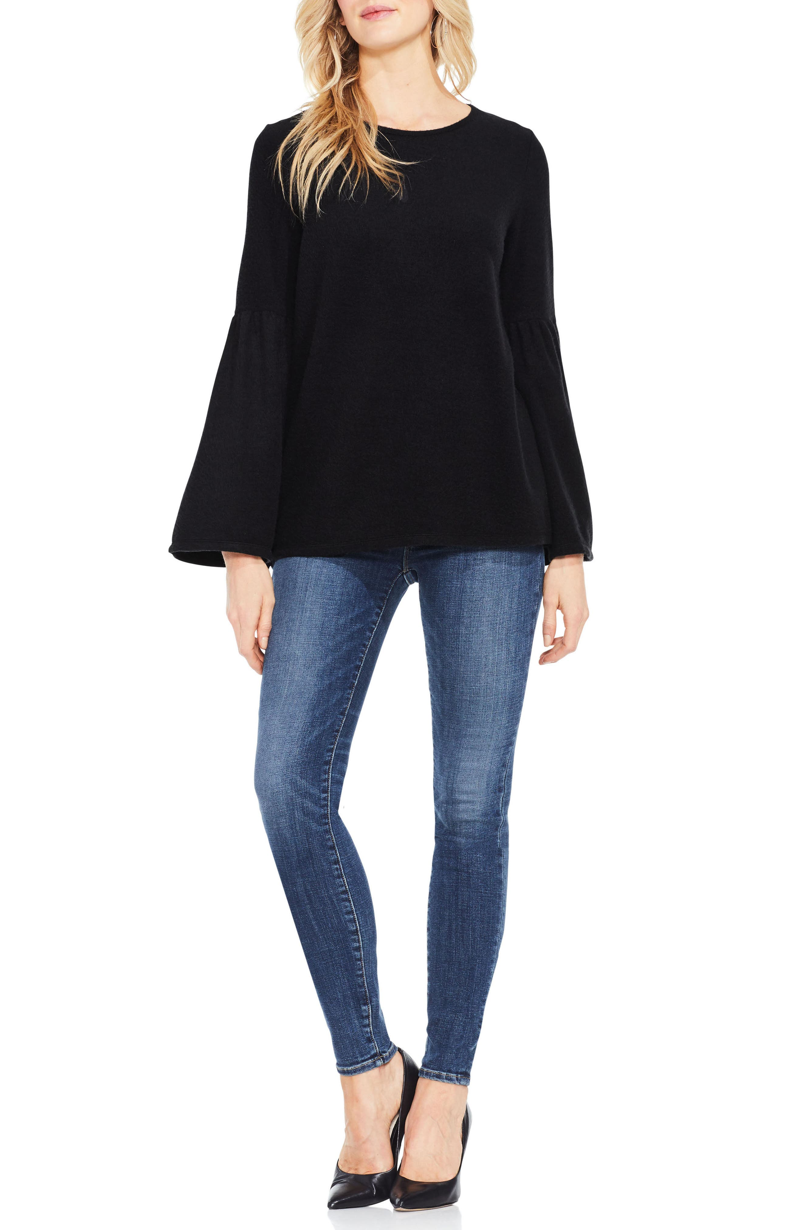 Vince Camuto Ruched Bell Sleeve Fleece Top,                             Alternate thumbnail 3, color,                             006