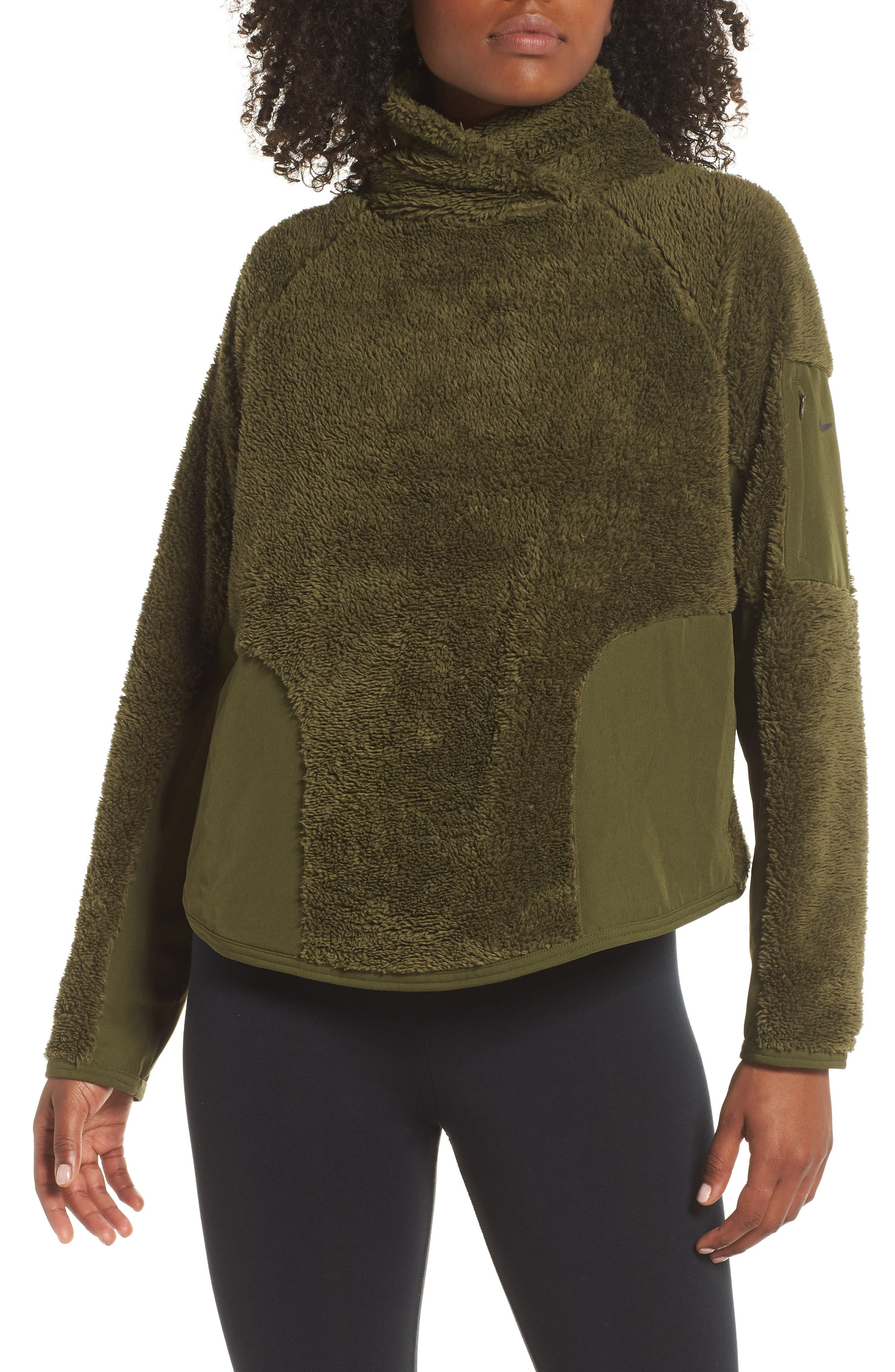 Fleece Mock Neck Top,                         Main,                         color, OLIVE CANVAS/ BLACK