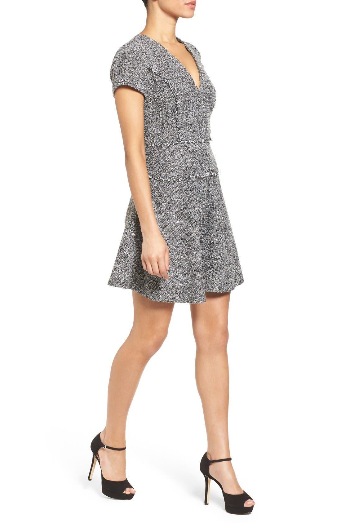 MICHAEL MICHAEL KORS,                             Tweed Fit & Flare Dress,                             Alternate thumbnail 3, color,                             001