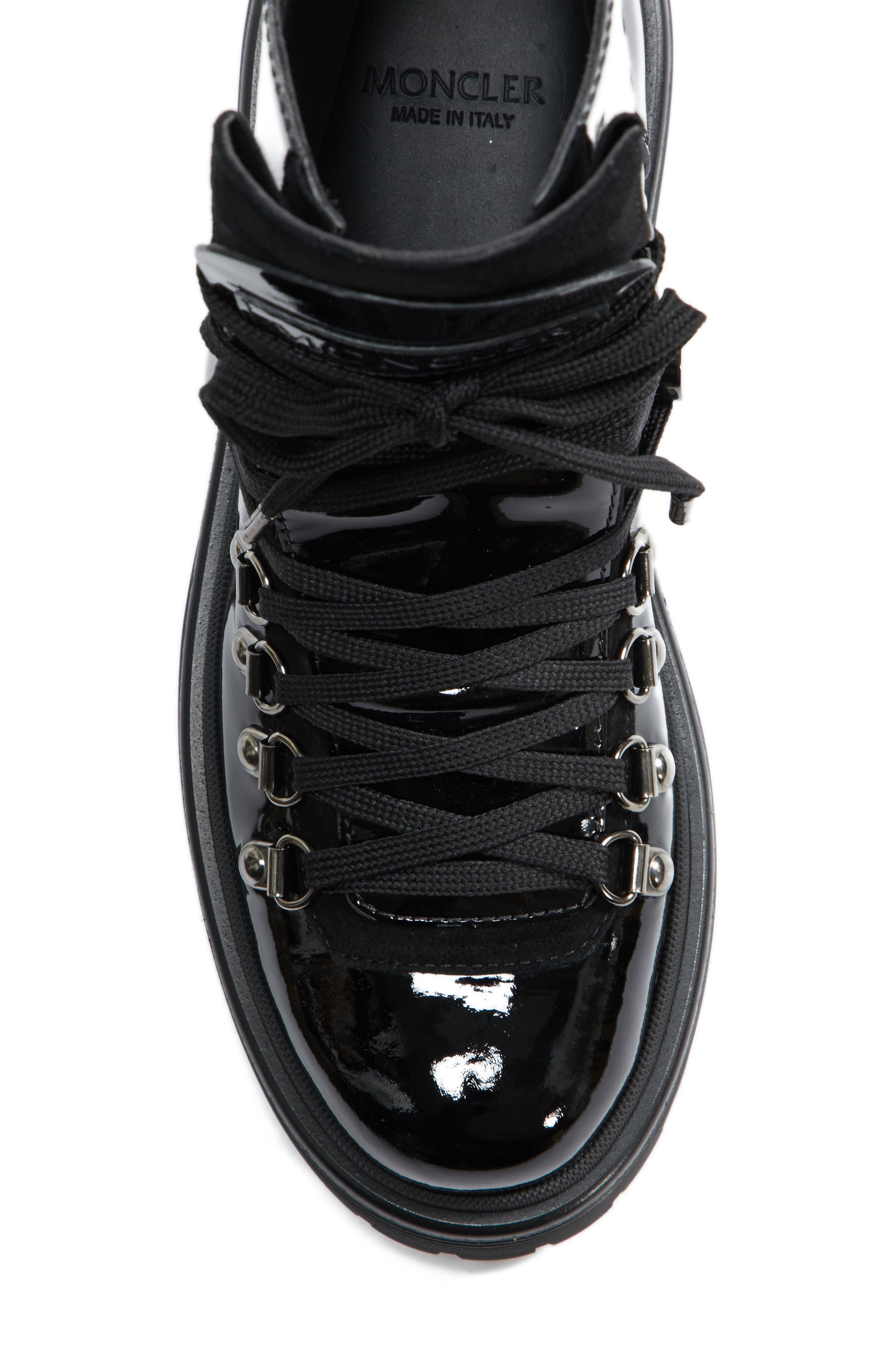 MONCLER,                             Berenice Stivale Lace-Up Boot,                             Alternate thumbnail 5, color,                             BLACK PATENT