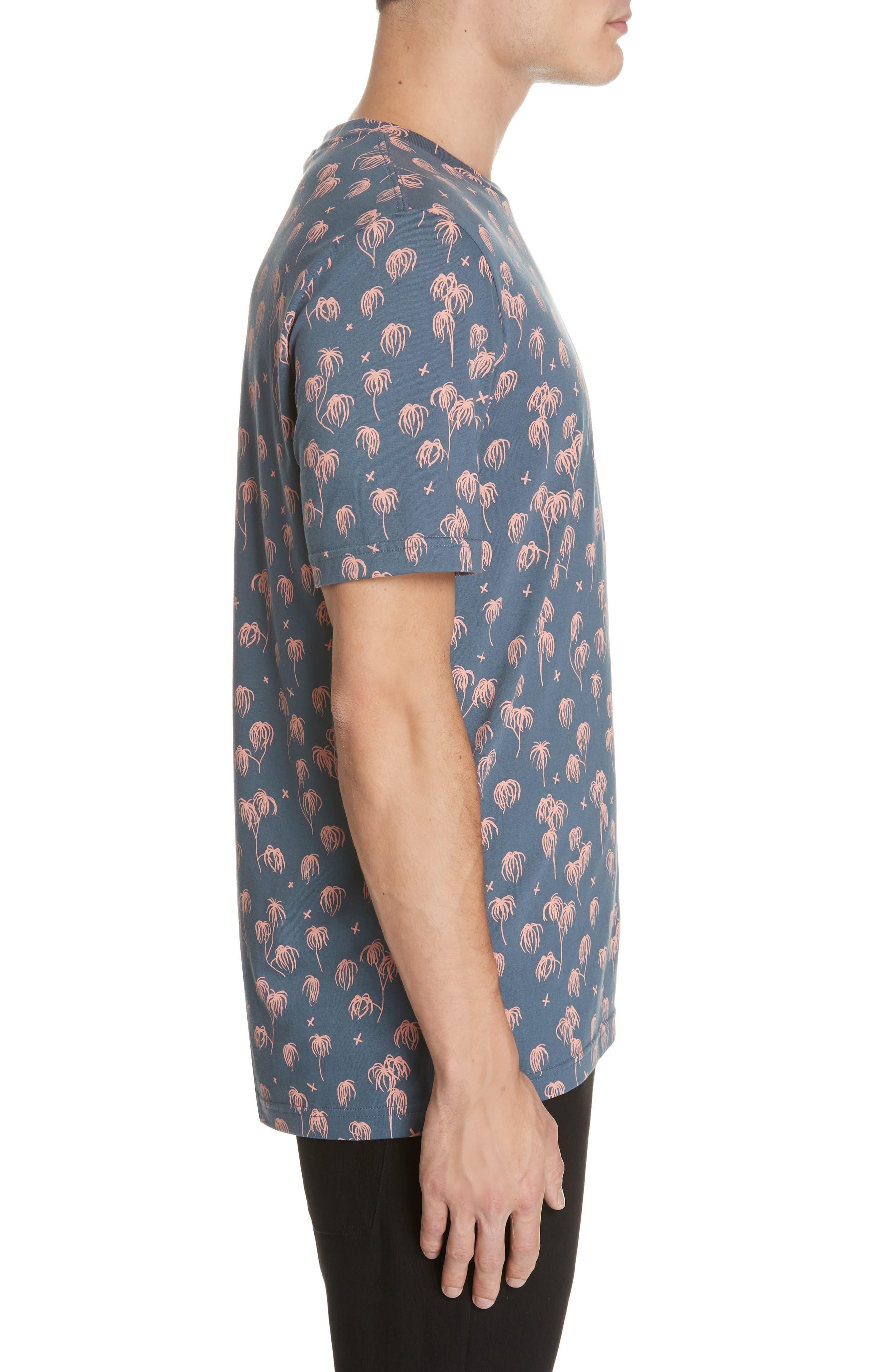 Palm Print T-Shirt,                             Alternate thumbnail 3, color,                             BLUE