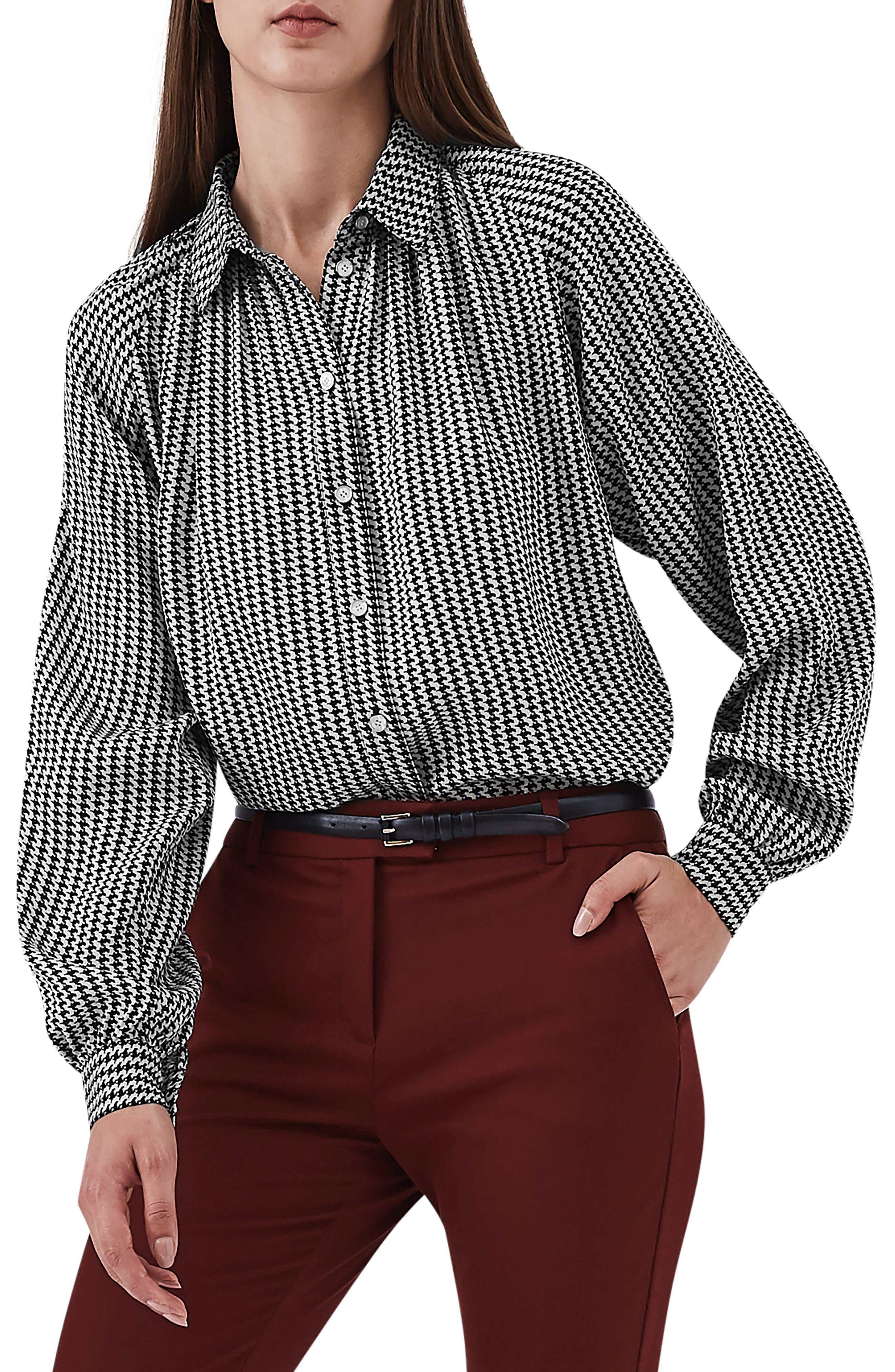 Viola Houndstooth Balloon Sleeve Blouse,                         Main,                         color, 001