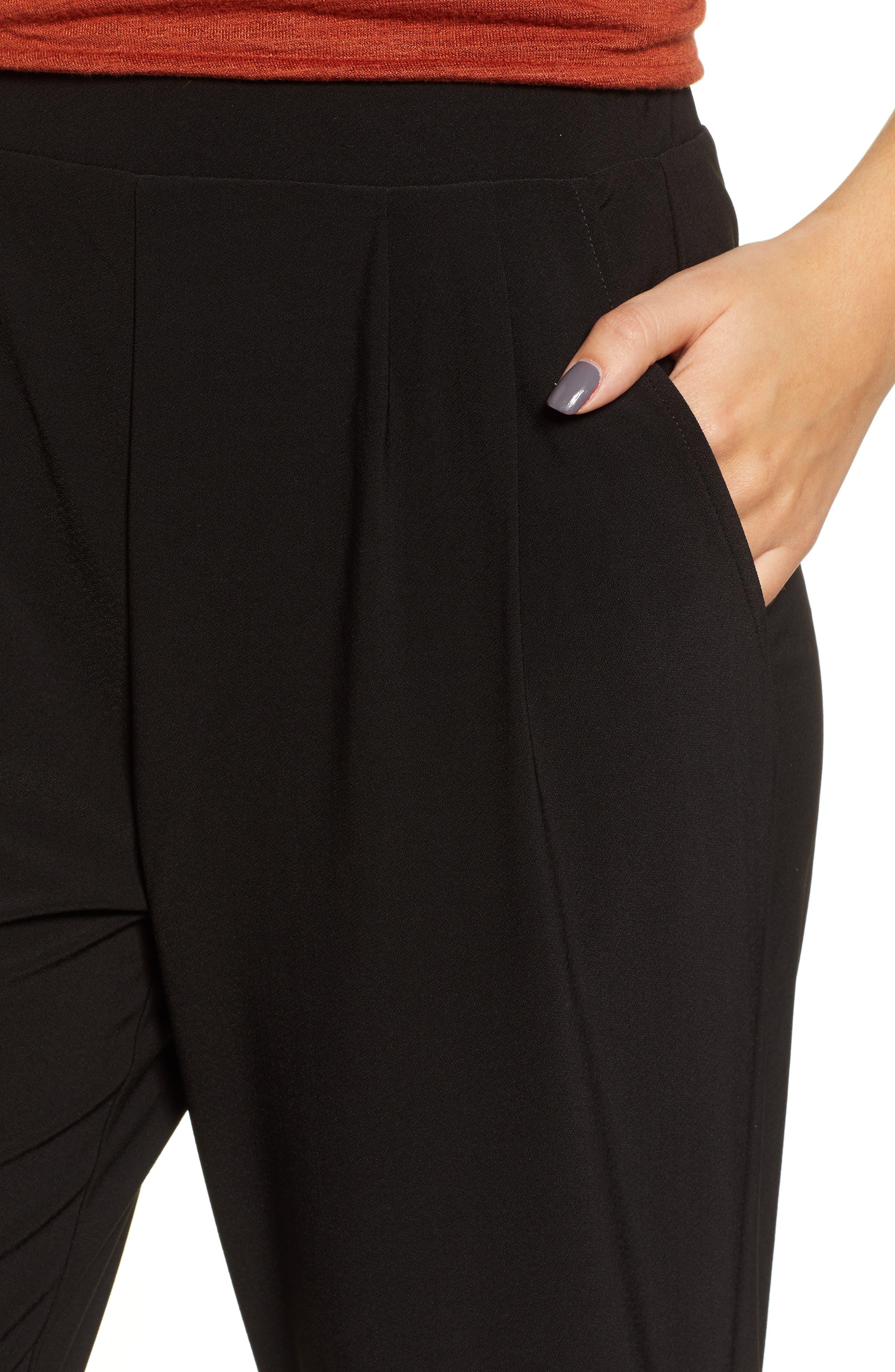 Pleat Front Trousers,                             Alternate thumbnail 4, color,                             BLACK