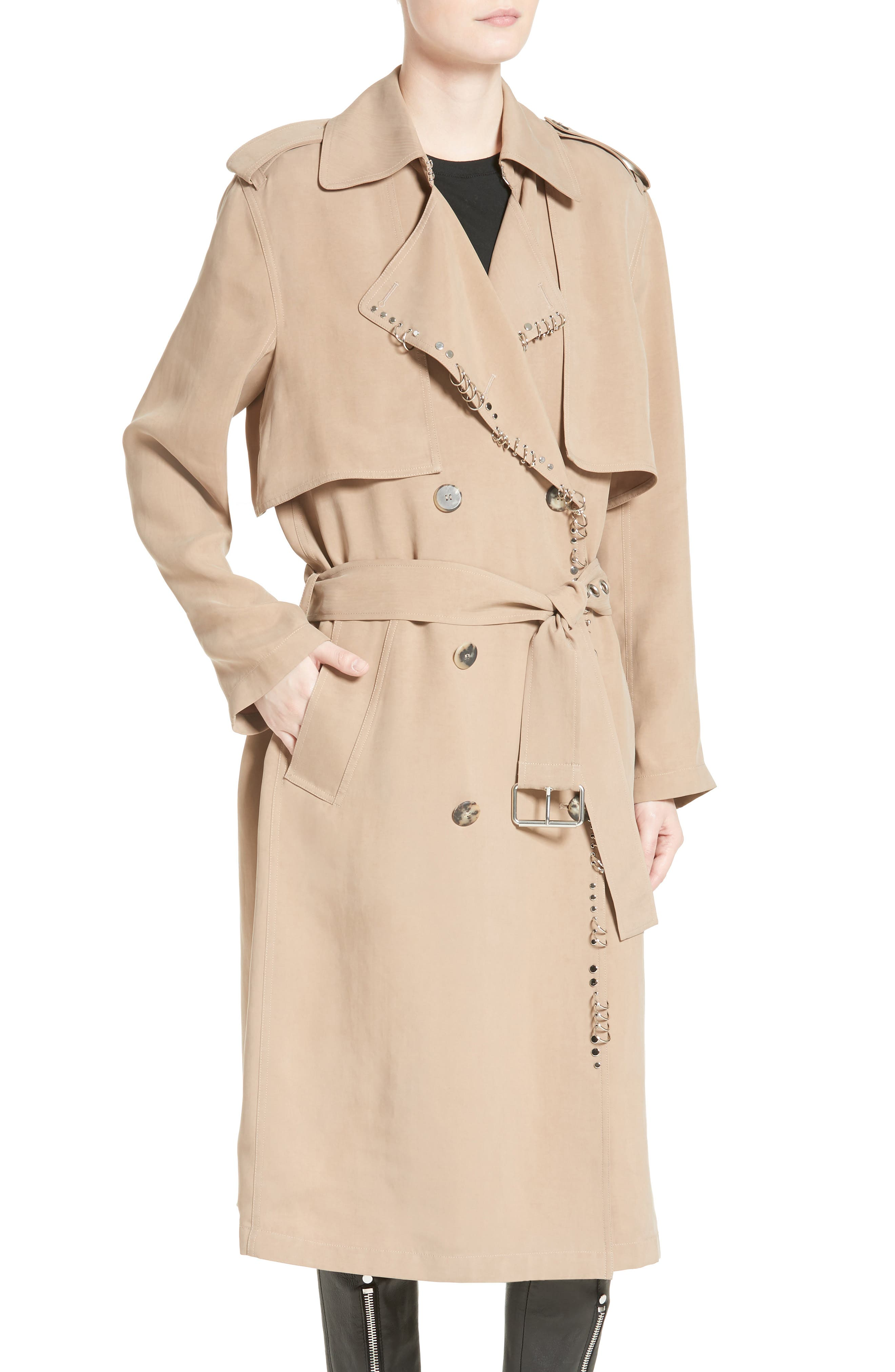 Pierced Trench Coat,                             Alternate thumbnail 4, color,                             200