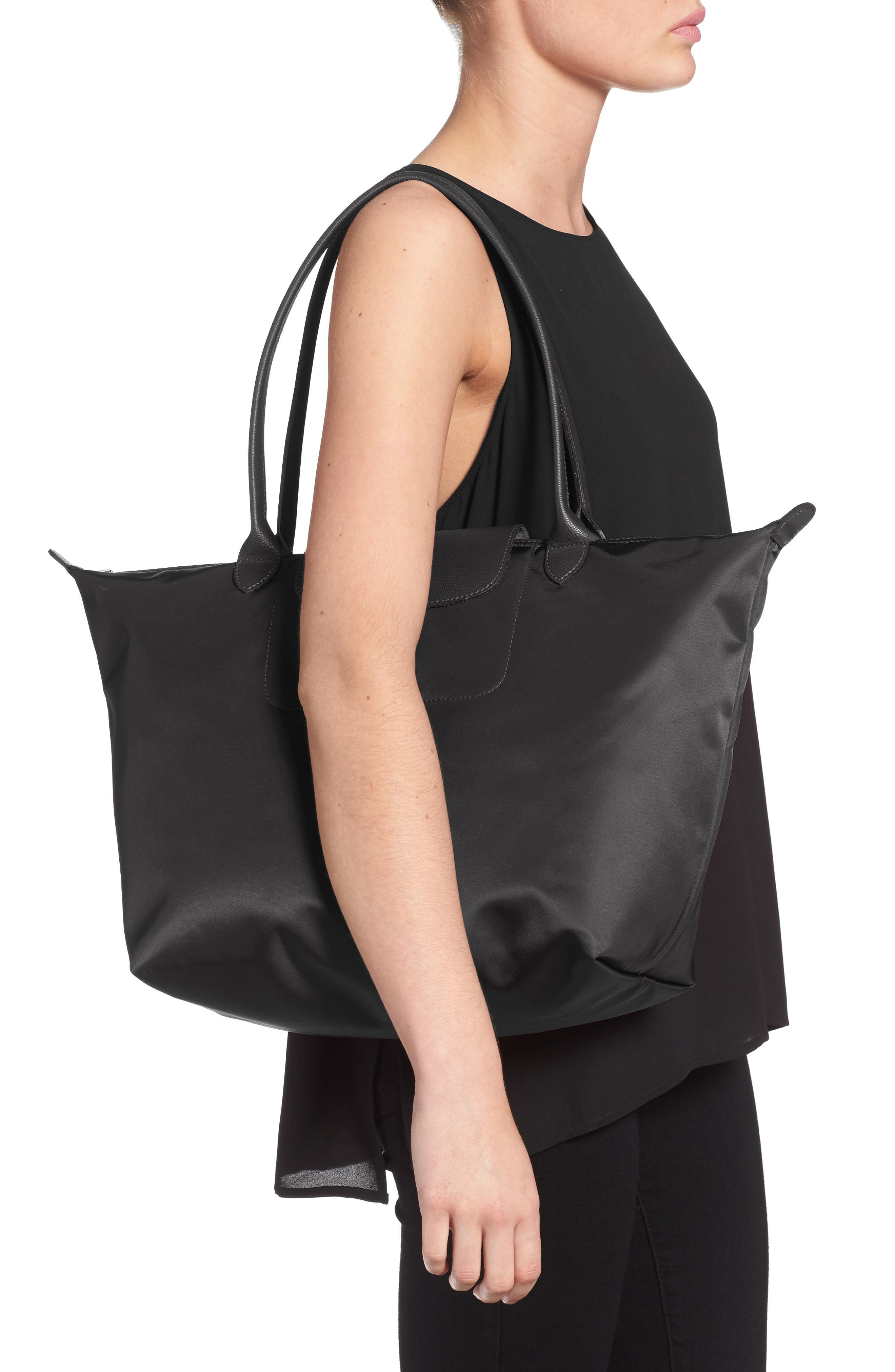 'Large Le Pliage Neo' Nylon Tote,                             Alternate thumbnail 6, color,                             BLACK