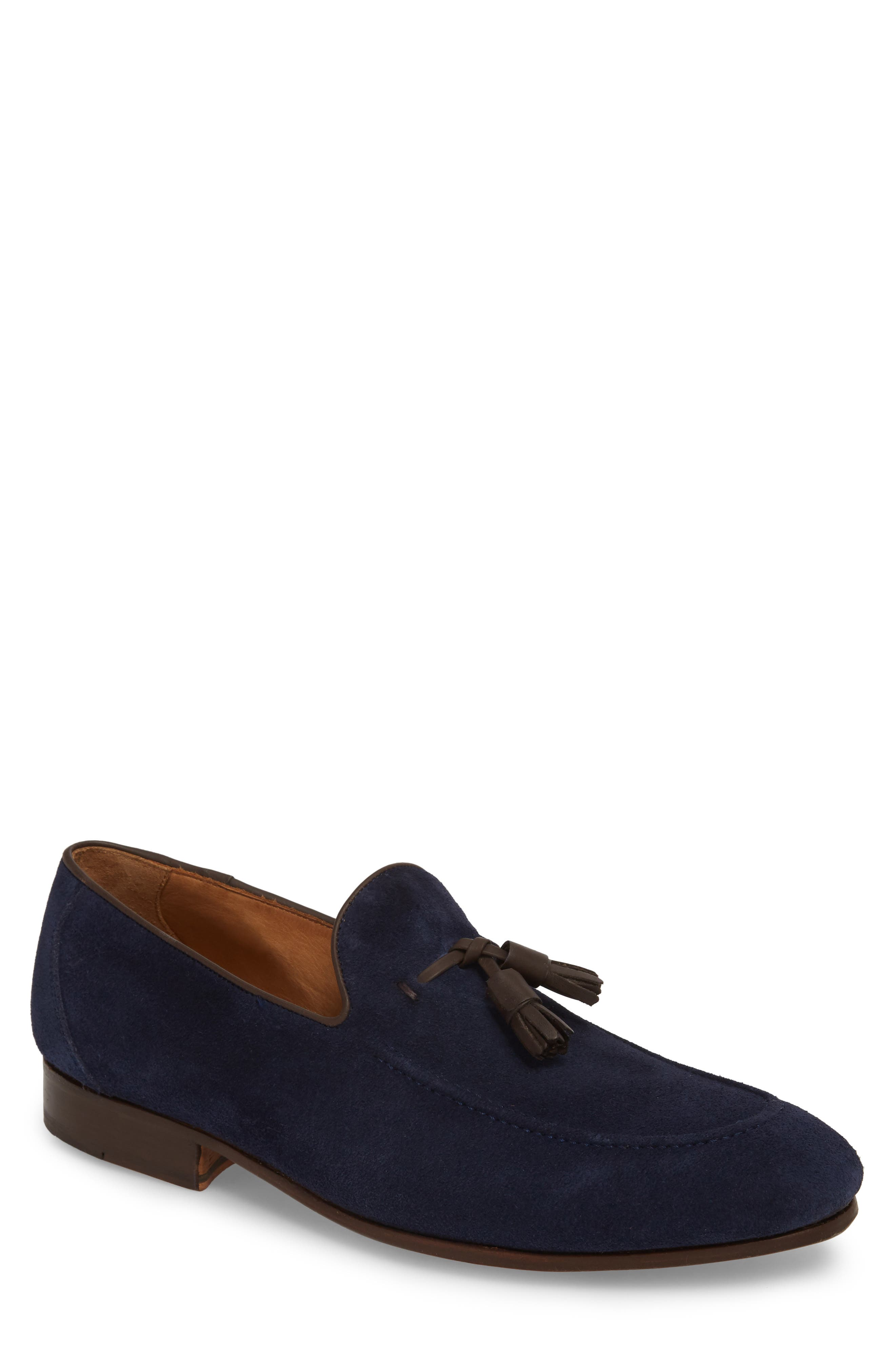 Ario Tassel Loafer,                             Main thumbnail 1, color,                             NAVY SUEDE