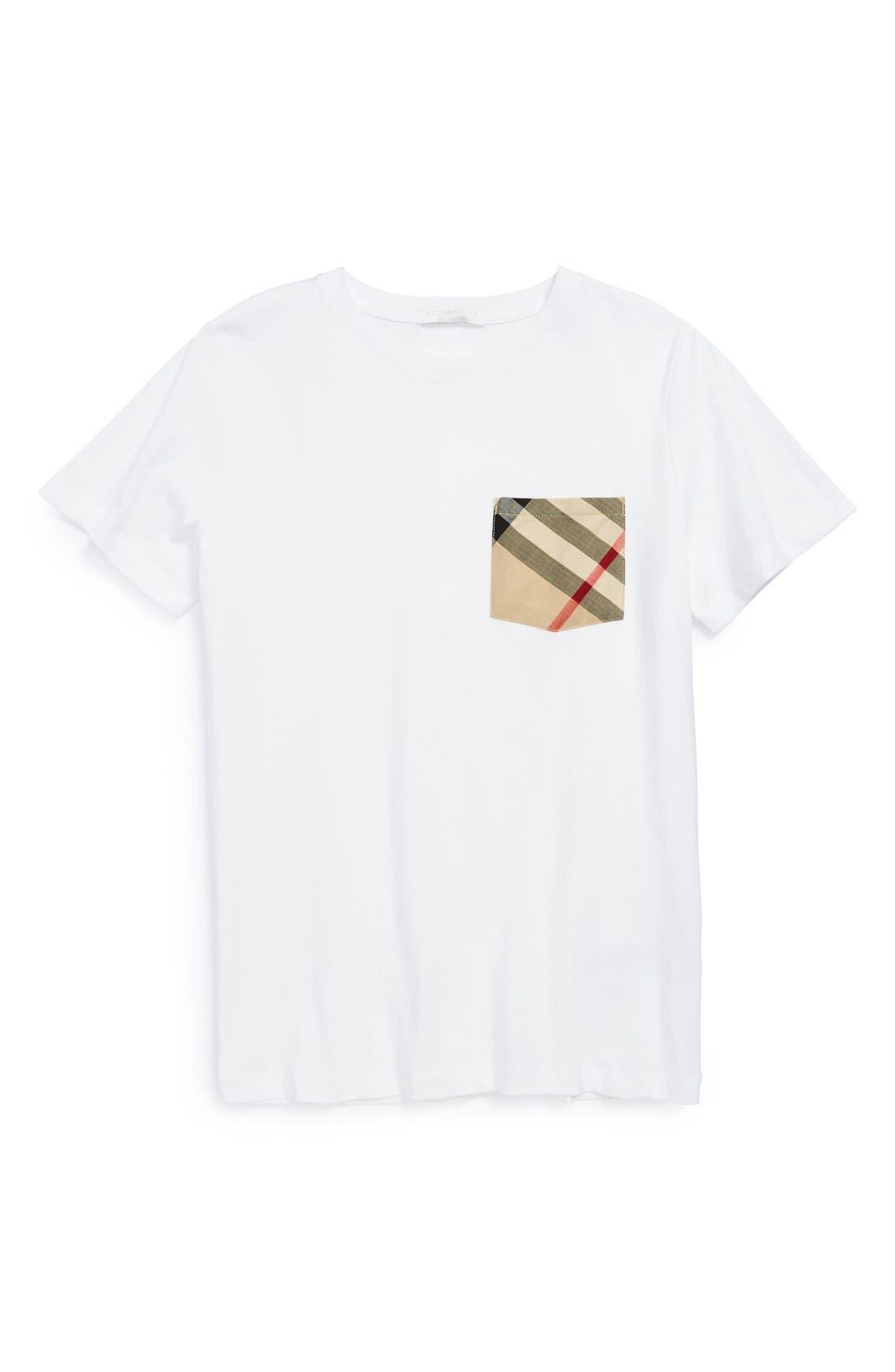 Boys Burberry Check Print Chest Pocket TShirt Size 8Y  White