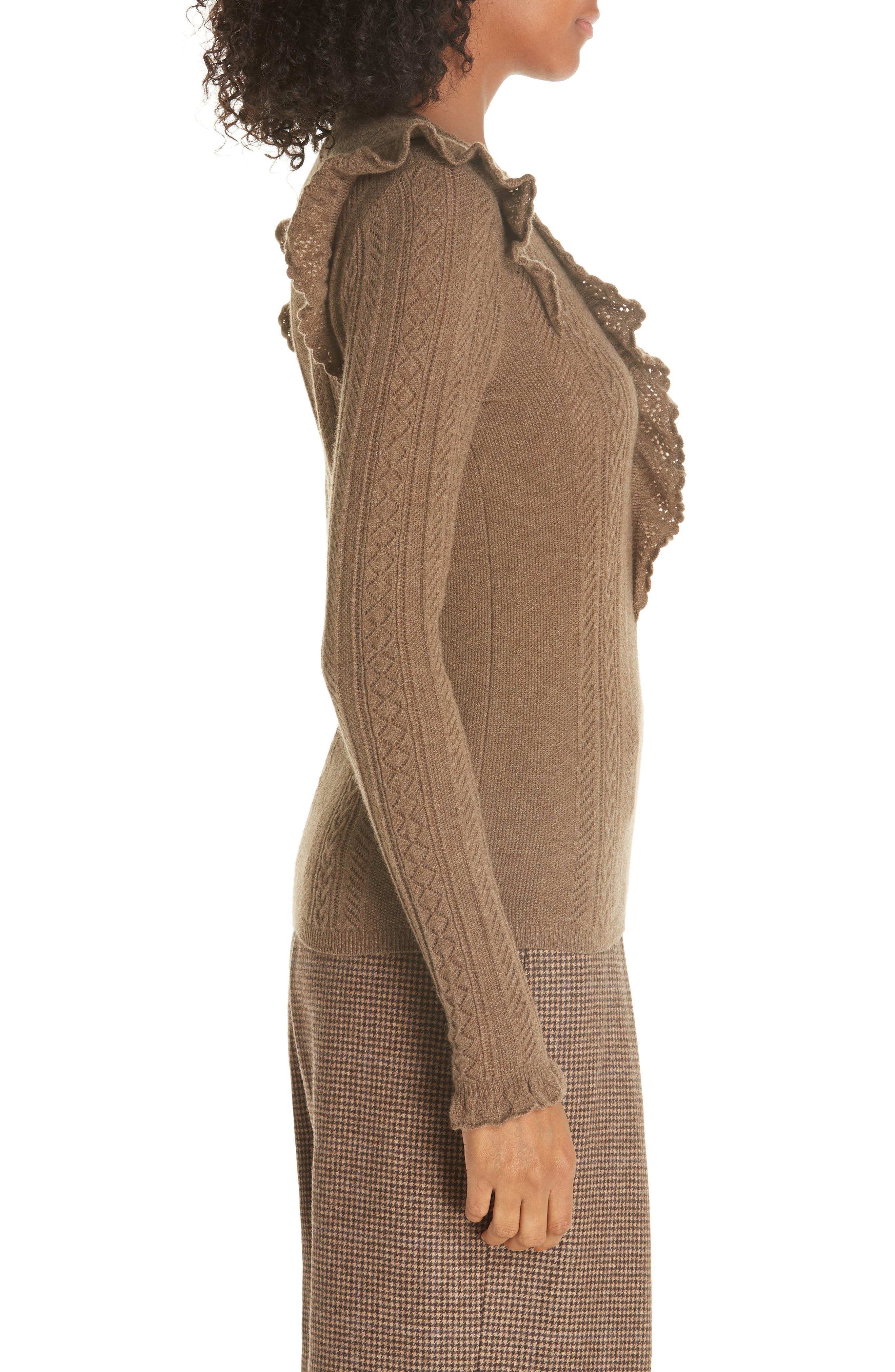 Ruffle Pointelle Sweater,                             Alternate thumbnail 3, color,                             LIGHT BROWN HEATHER