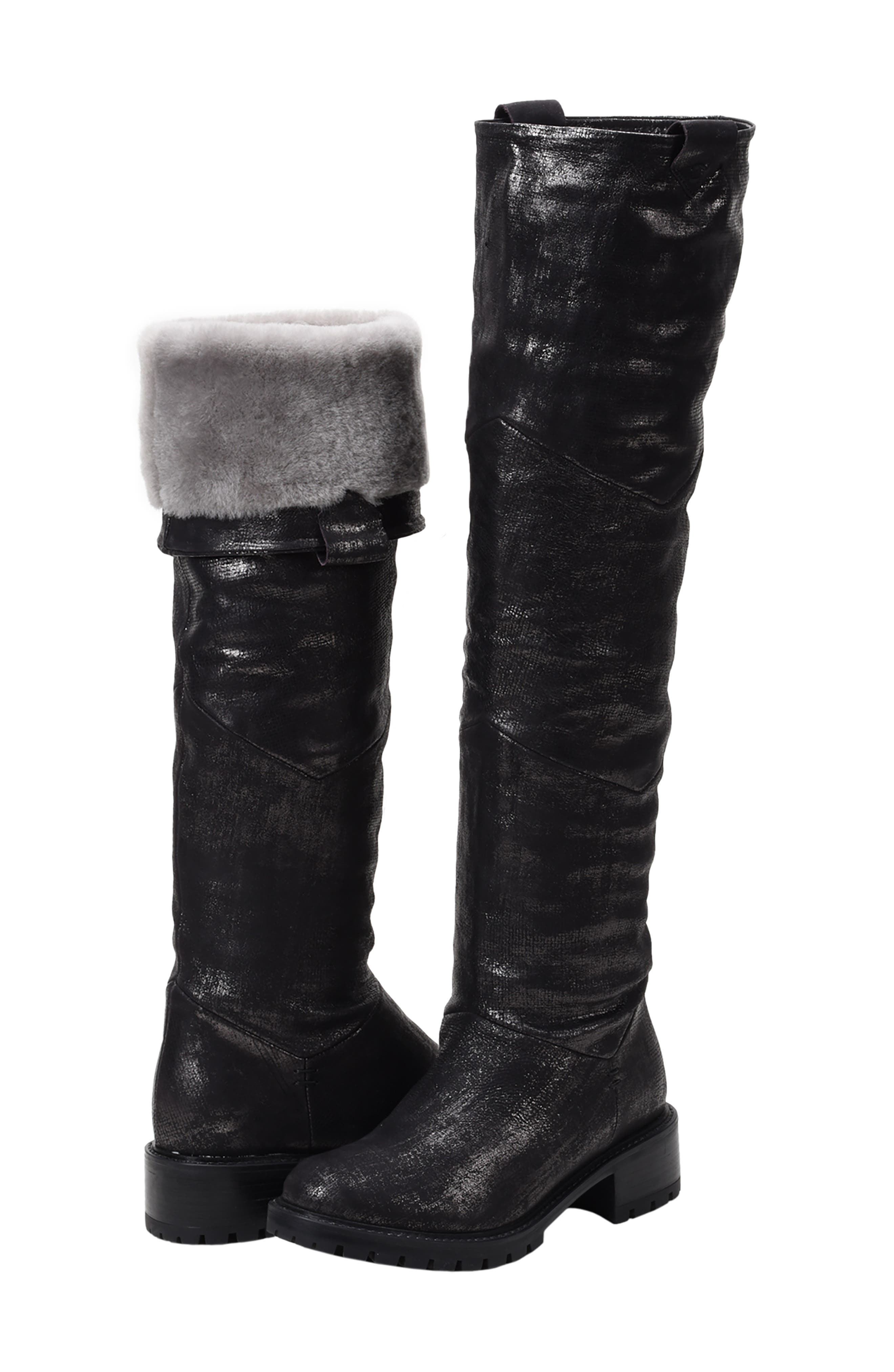 Elena Waterproof Genuine Shearling Lined Knee High Boot,                             Alternate thumbnail 8, color,                             BLACK/ SILVER LEATHER
