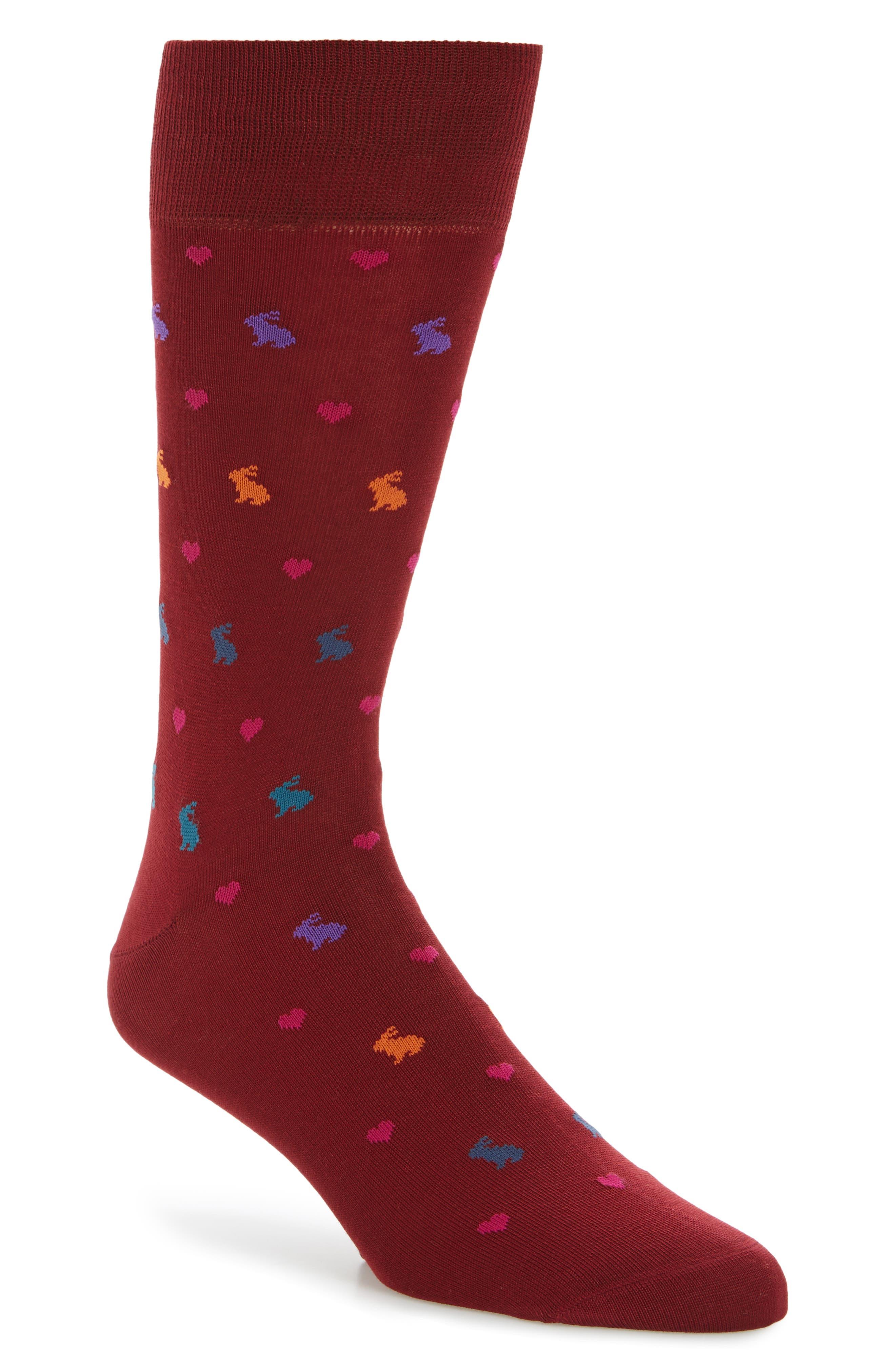 Valentine Rabbit Socks,                         Main,                         color,