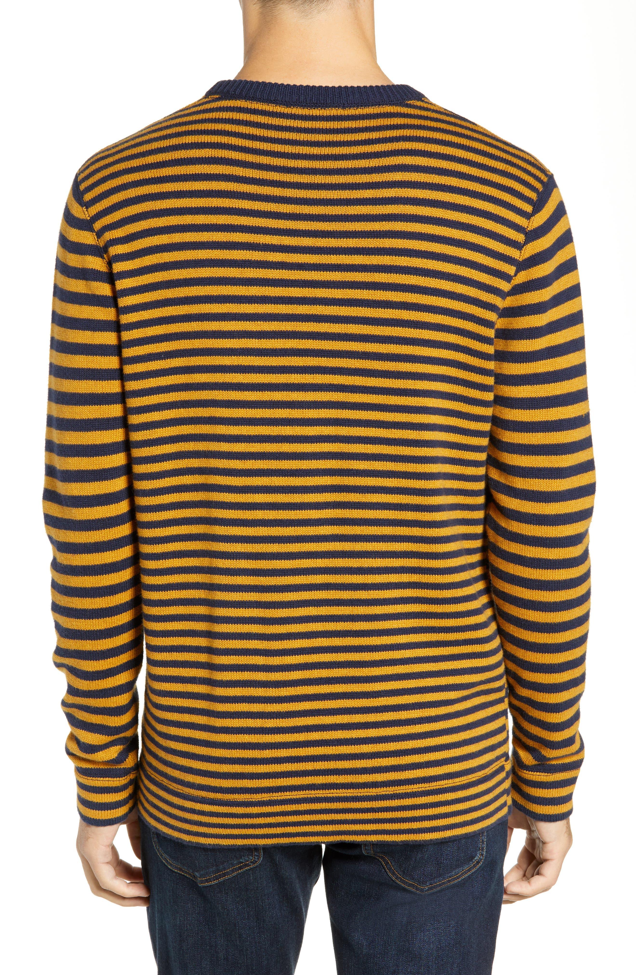 Stripe Cotton & Wool Sweater,                             Alternate thumbnail 2, color,                             CALLUNA YELLOW UTILITY BLUE