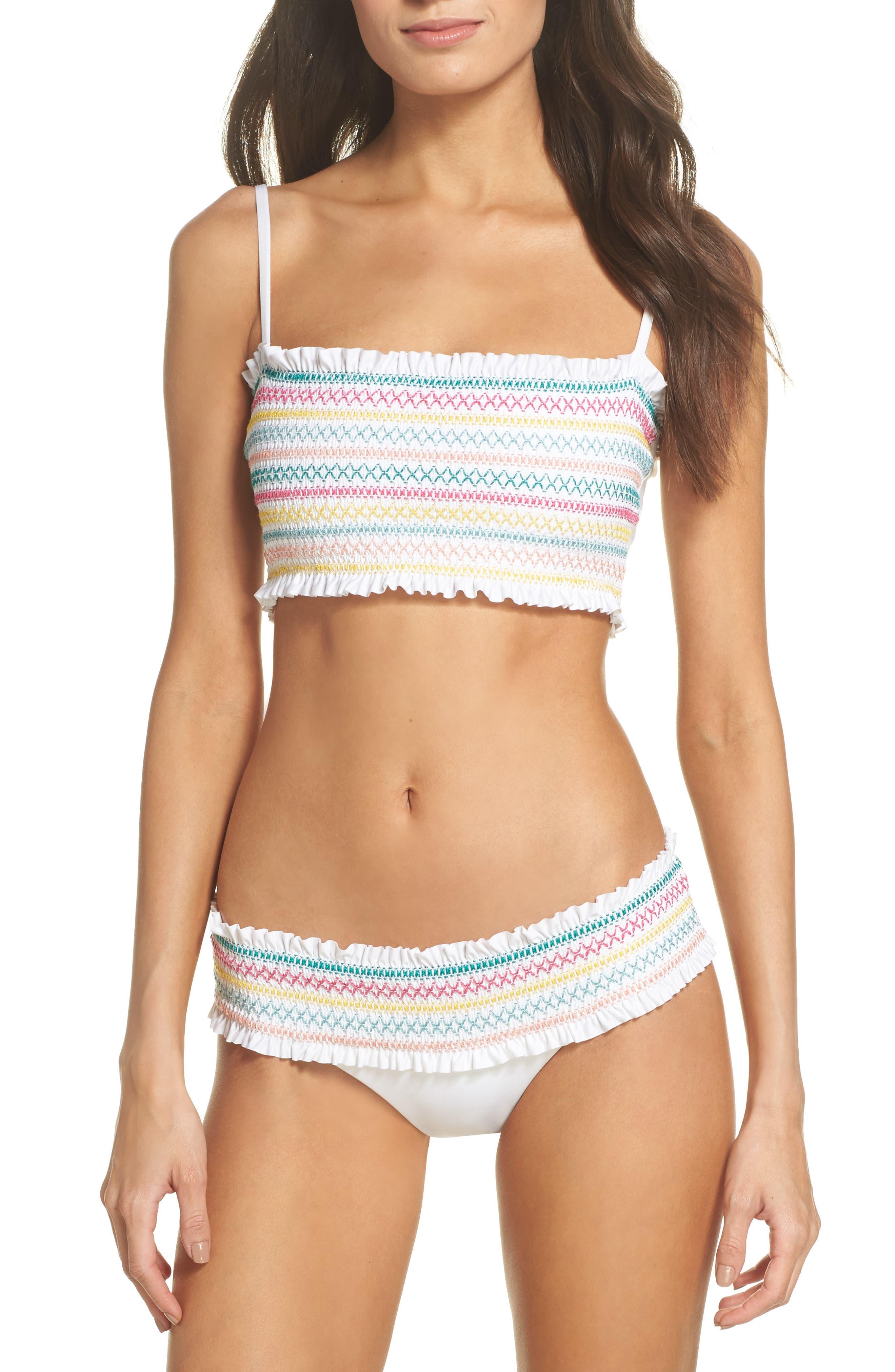 Crystal Cover Smocked Bandeau Bikini Top,                             Alternate thumbnail 7, color,                             100