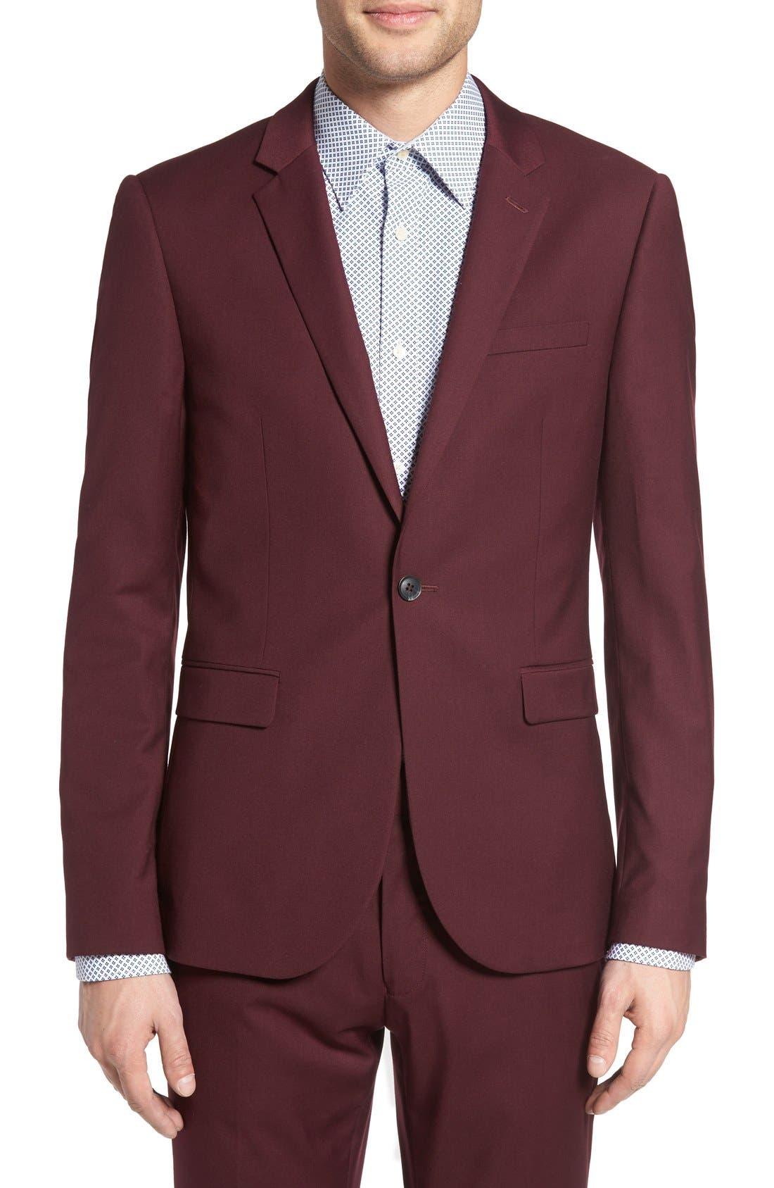 Burgundy Slim Fit Suit Jacket,                             Main thumbnail 1, color,                             930