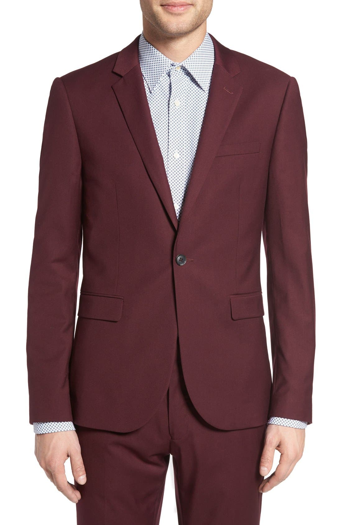 Burgundy Slim Fit Suit Jacket, Main, color, 930
