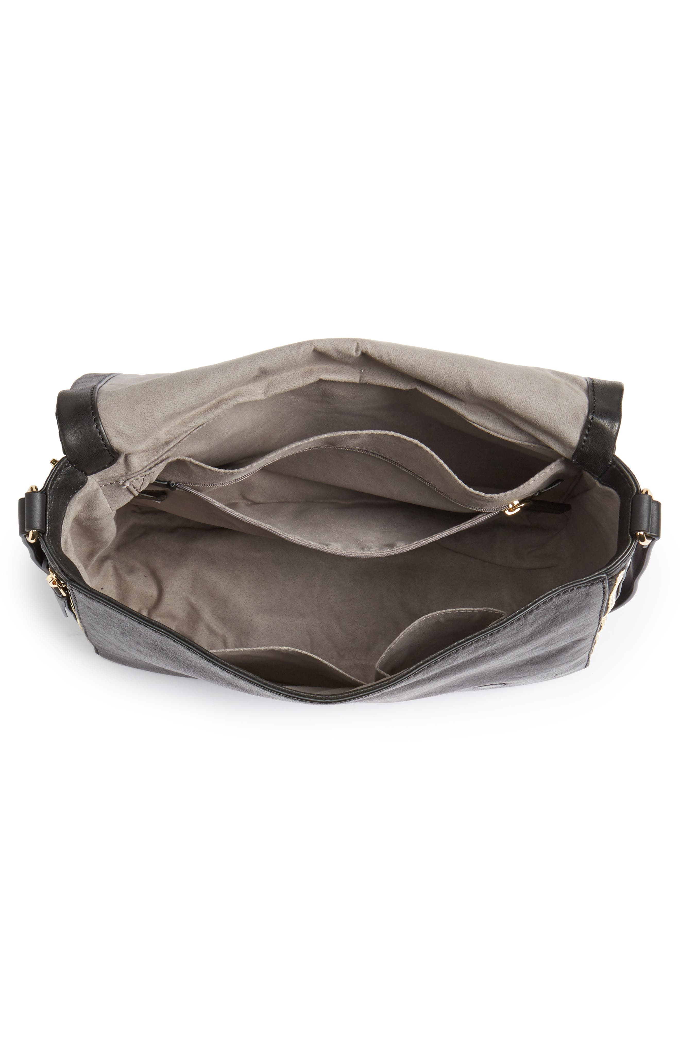 Delos Leather Messenger Bag,                             Alternate thumbnail 4, color,                             002