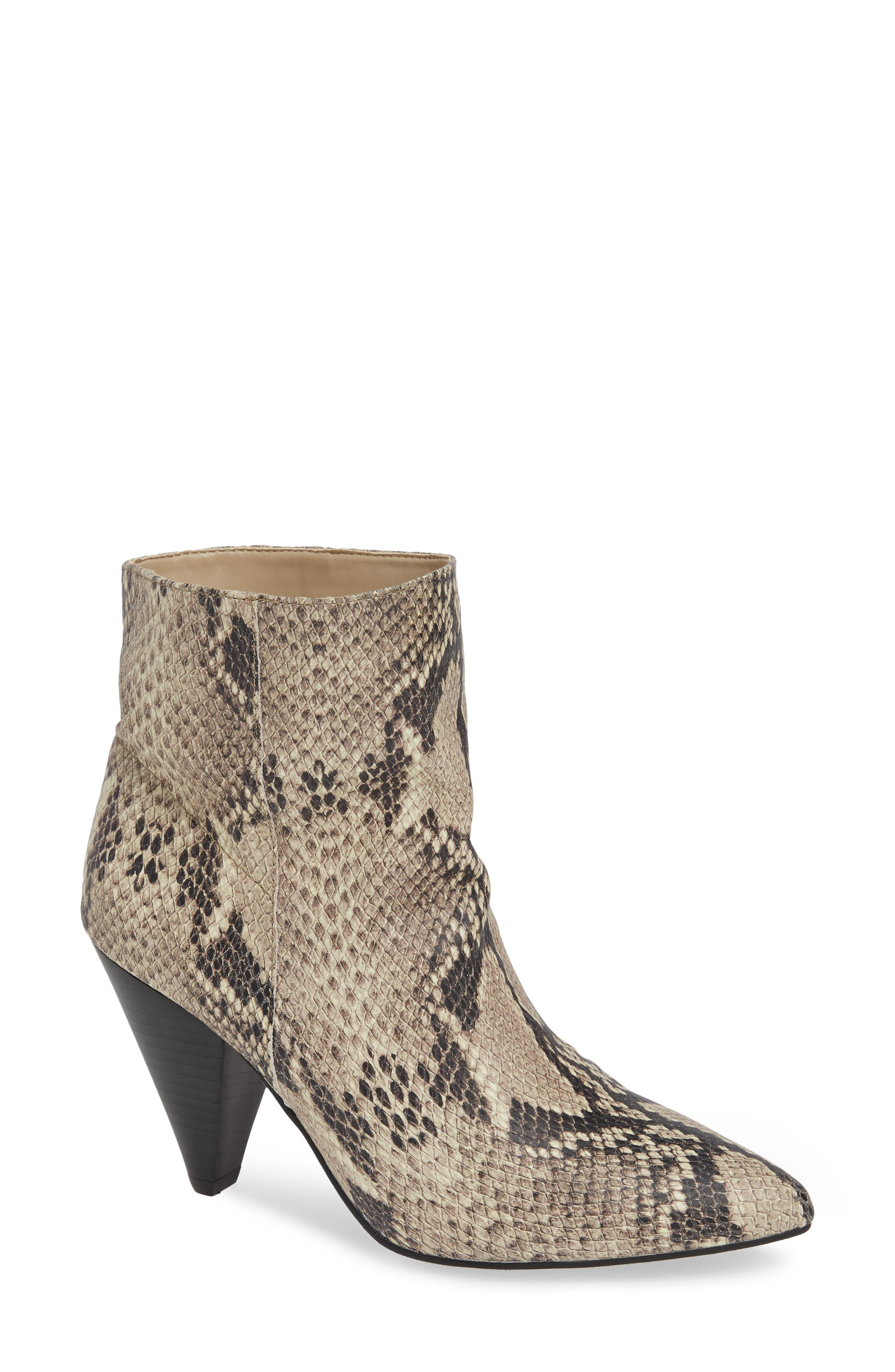 Scope Bootie,                             Main thumbnail 1, color,                             PRINTED NATURAL SNAKE LEATHER