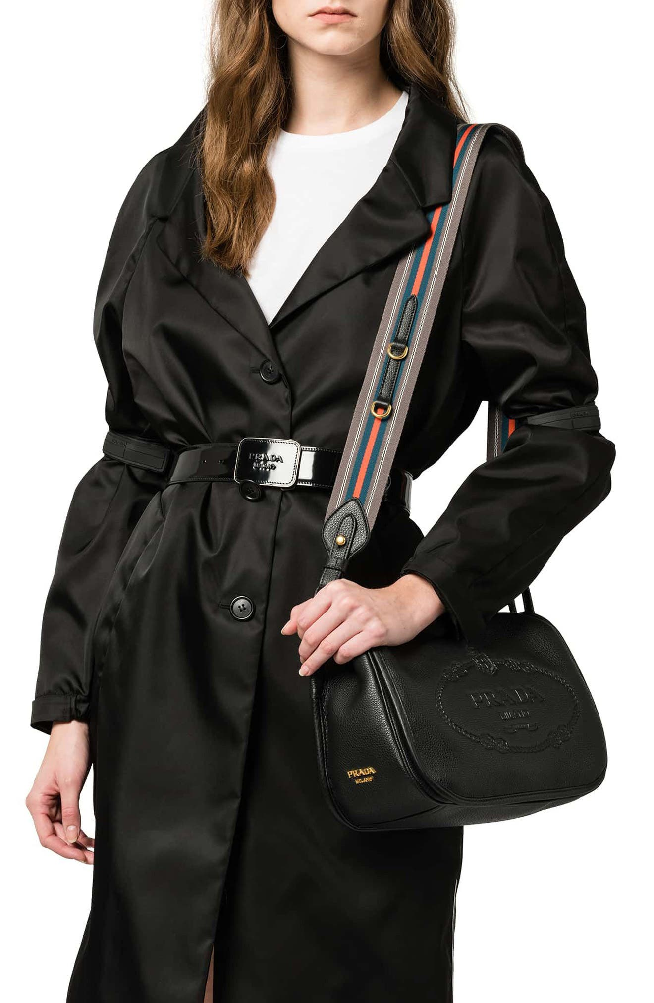 Vitello Daino Heritage Logo Leather Crossbody Bag,                             Alternate thumbnail 3, color,                             001