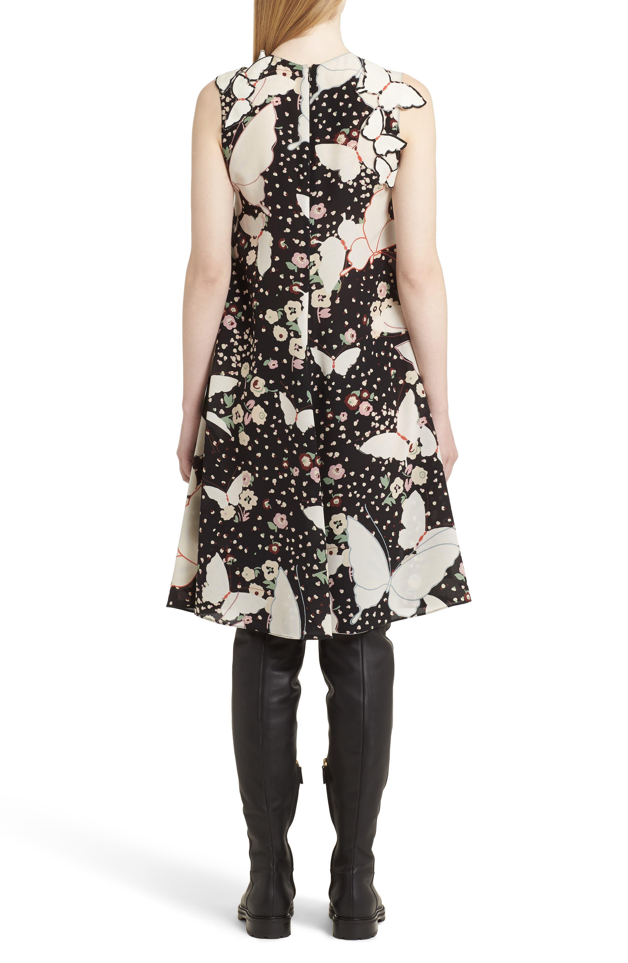 Pop Butterfly Appliqué Silk Crêpe de Chine Dress,                             Alternate thumbnail 2, color,                             001