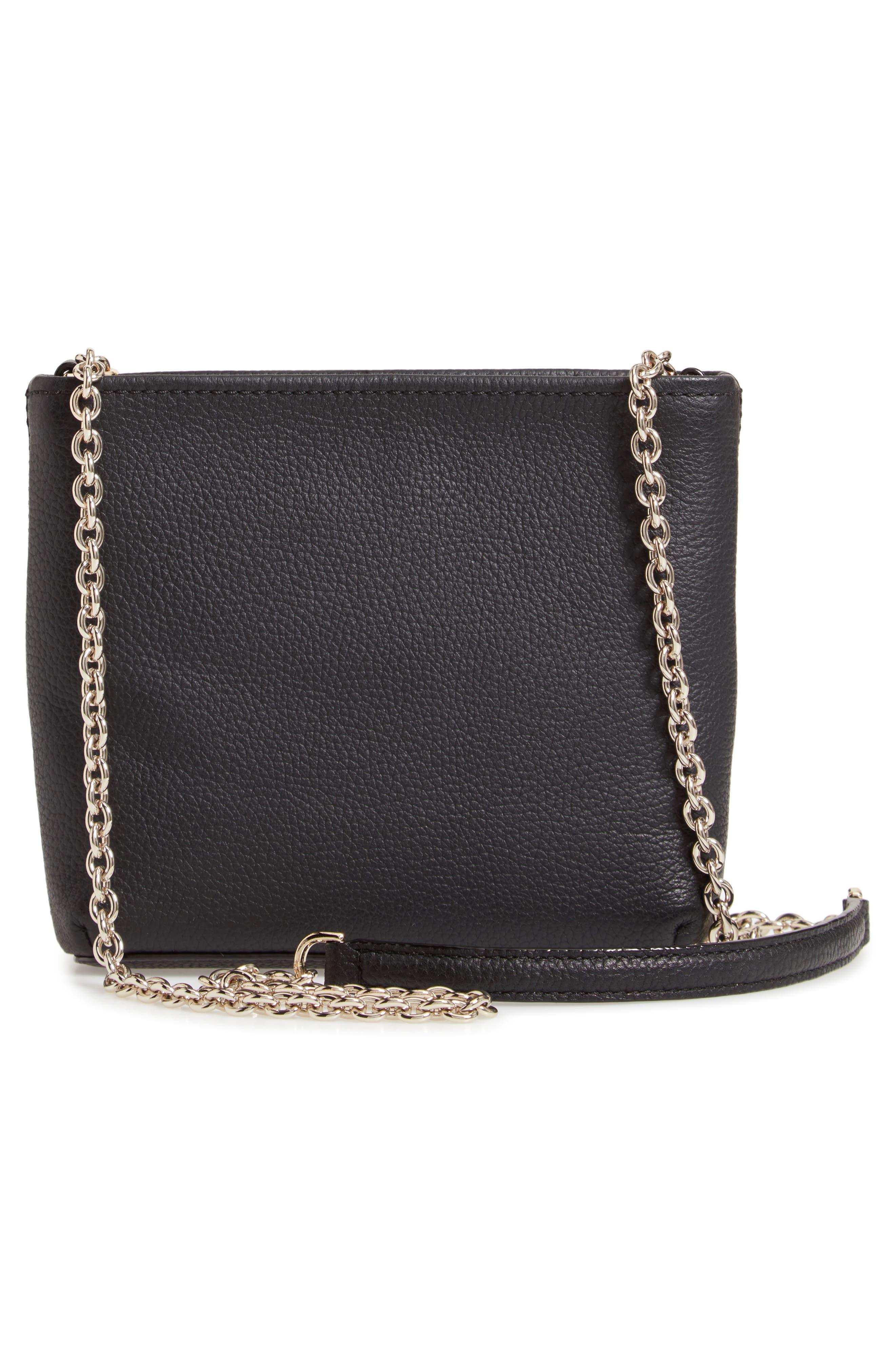 jackson street - ellery leather crossbody bag,                             Alternate thumbnail 3, color,                             BLACK