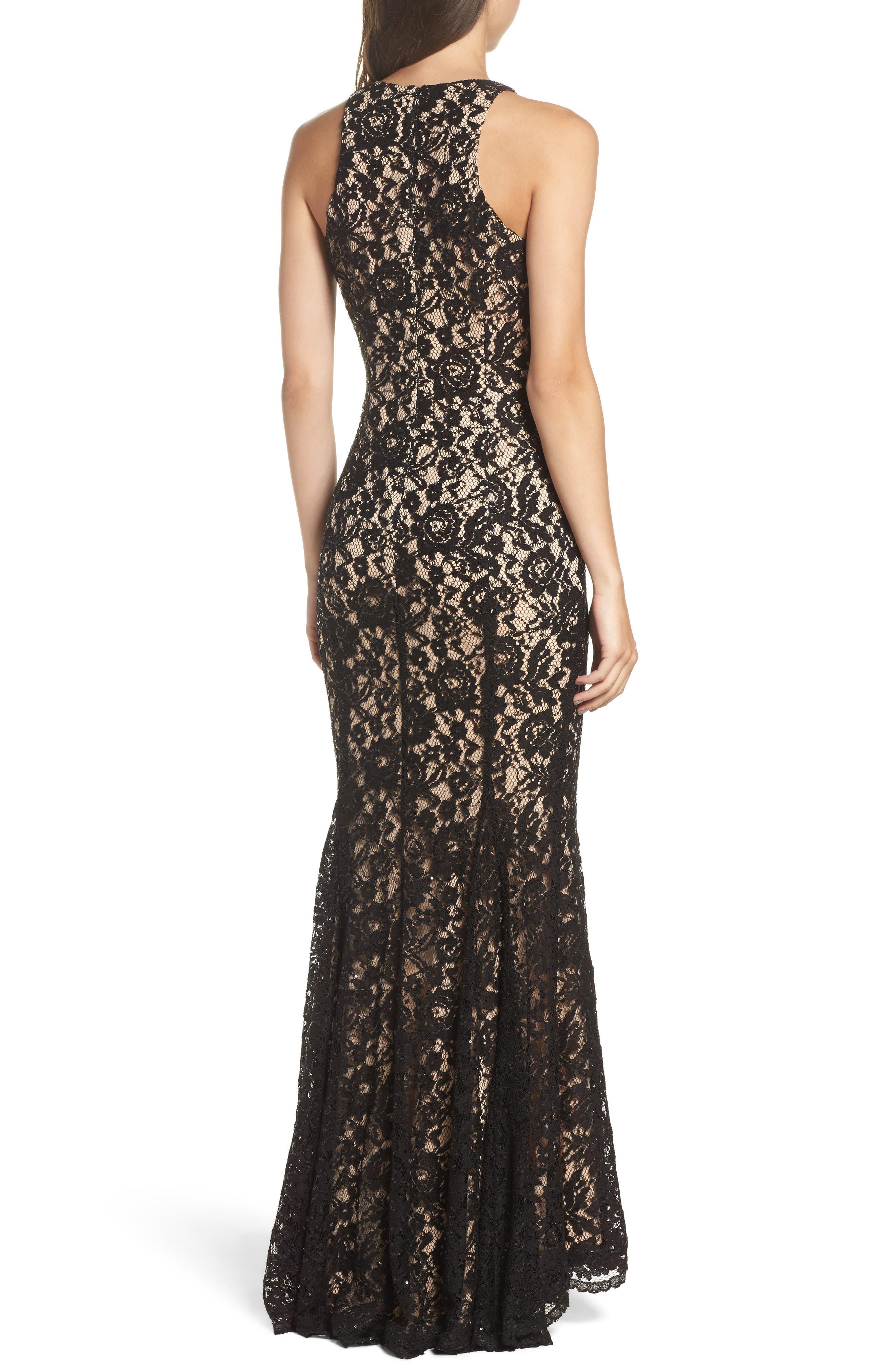 Sequin Lace Body-Con Gown,                             Alternate thumbnail 2, color,
