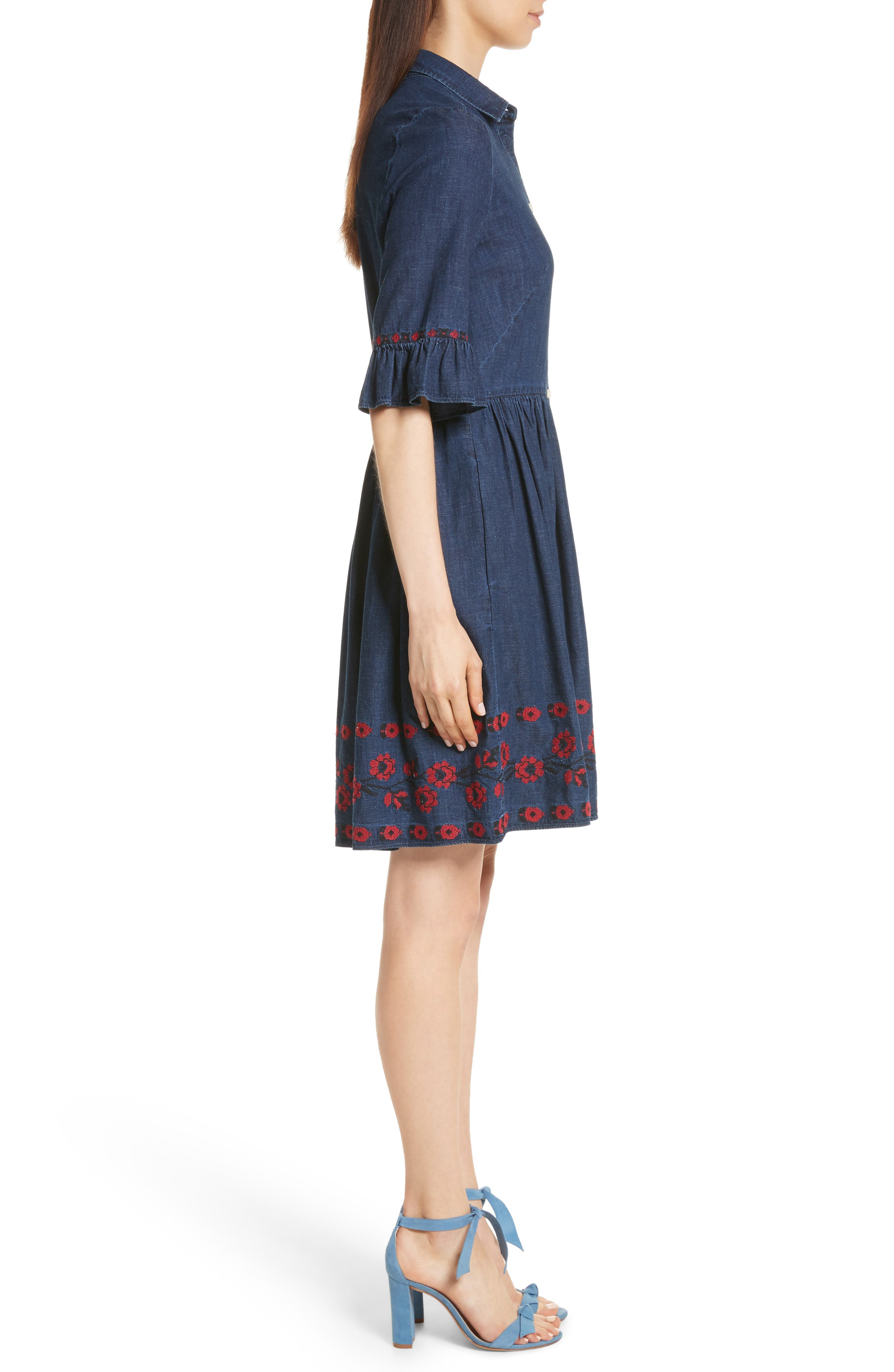 embroidered chambray shirtdress,                             Alternate thumbnail 3, color,                             429