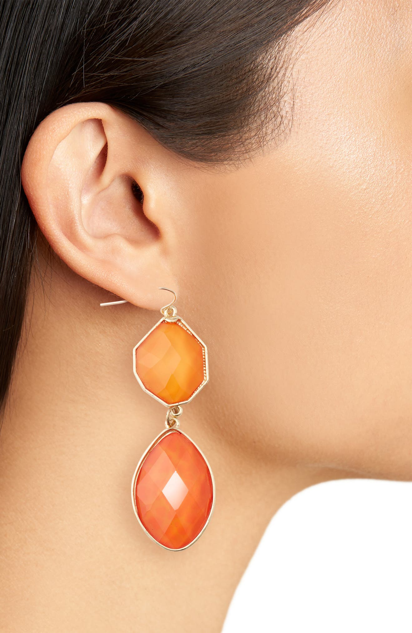 Stone Drop Earrings,                             Alternate thumbnail 2, color,                             ORANGE/ PEACH