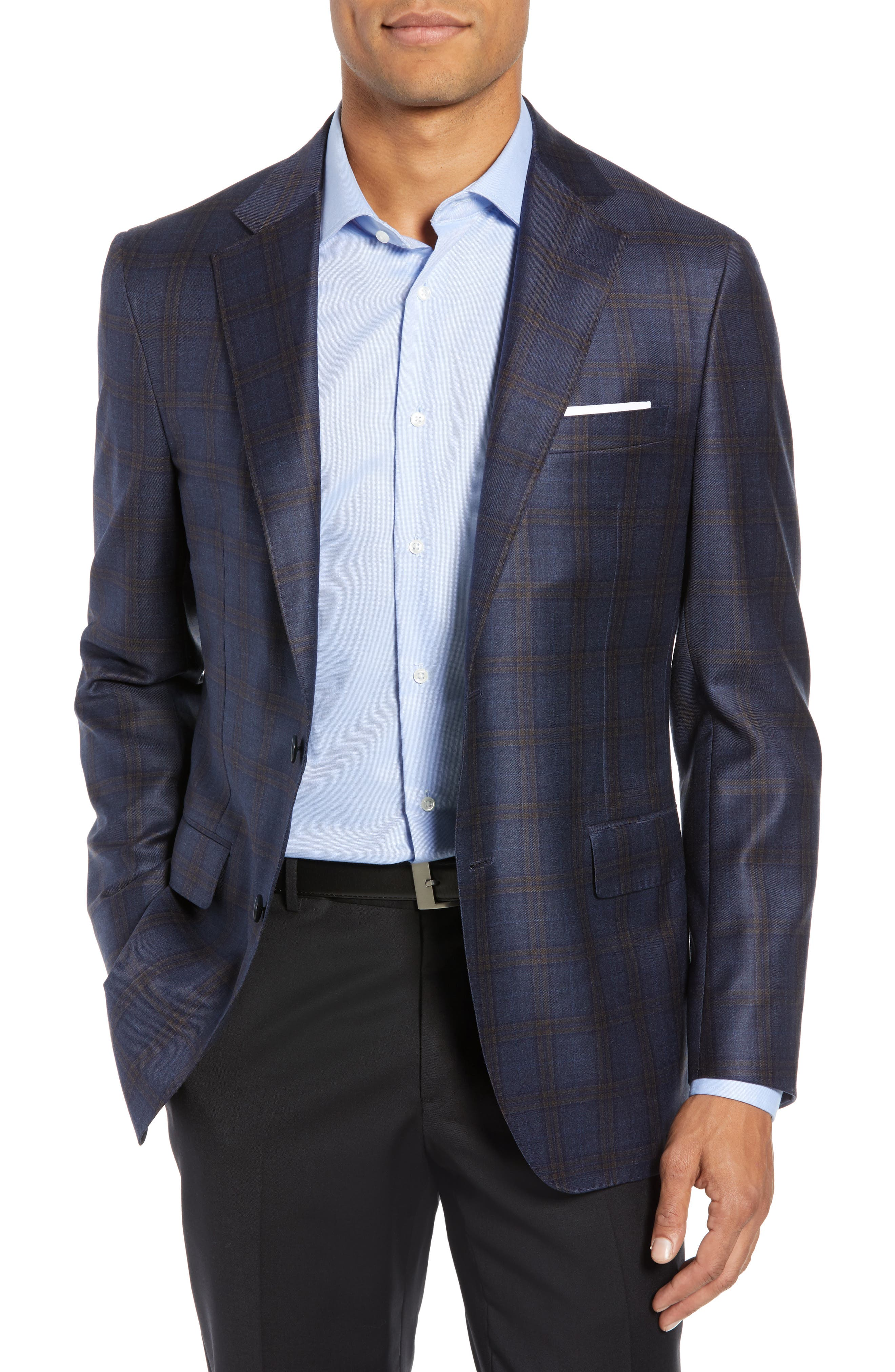 Classic Fit Plaid Wool Sport Coat,                             Main thumbnail 1, color,                             BLUE/ BROWN