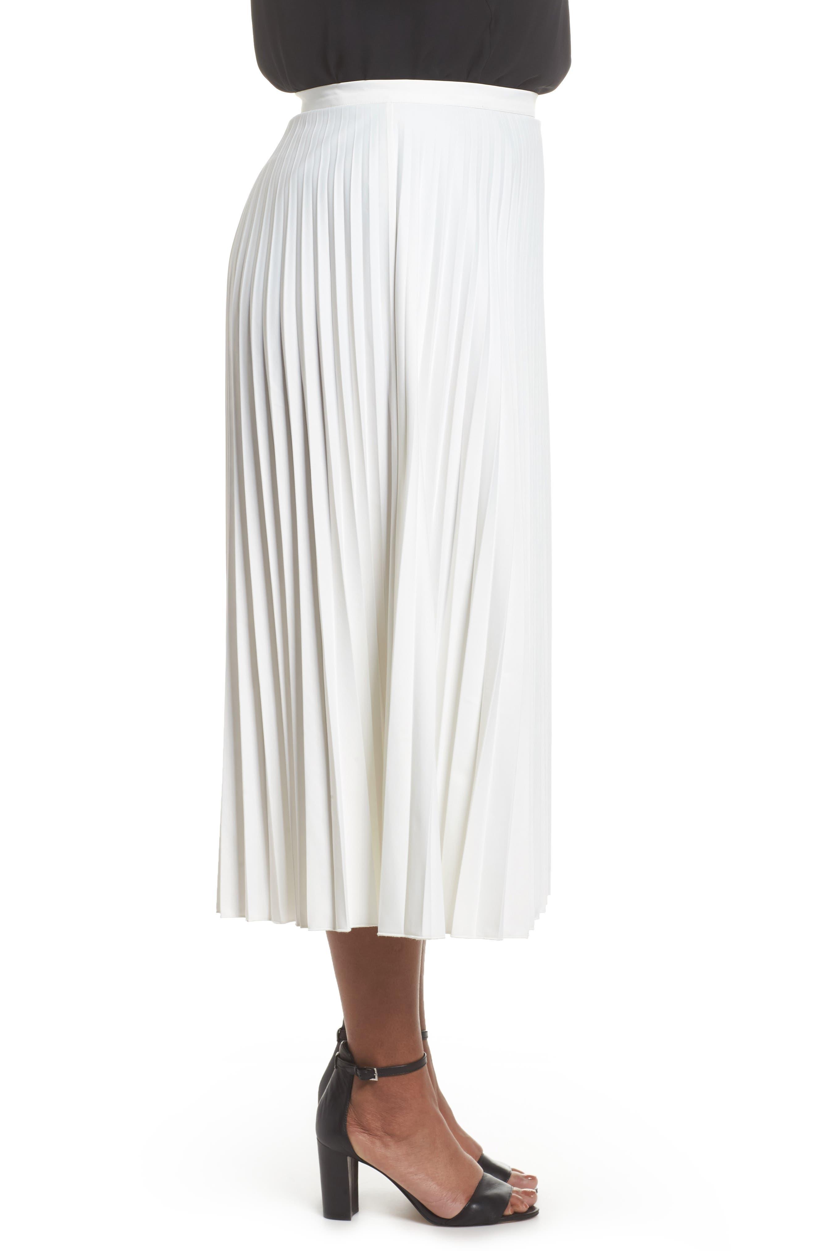 Pleated Long Skirt,                             Alternate thumbnail 3, color,                             100