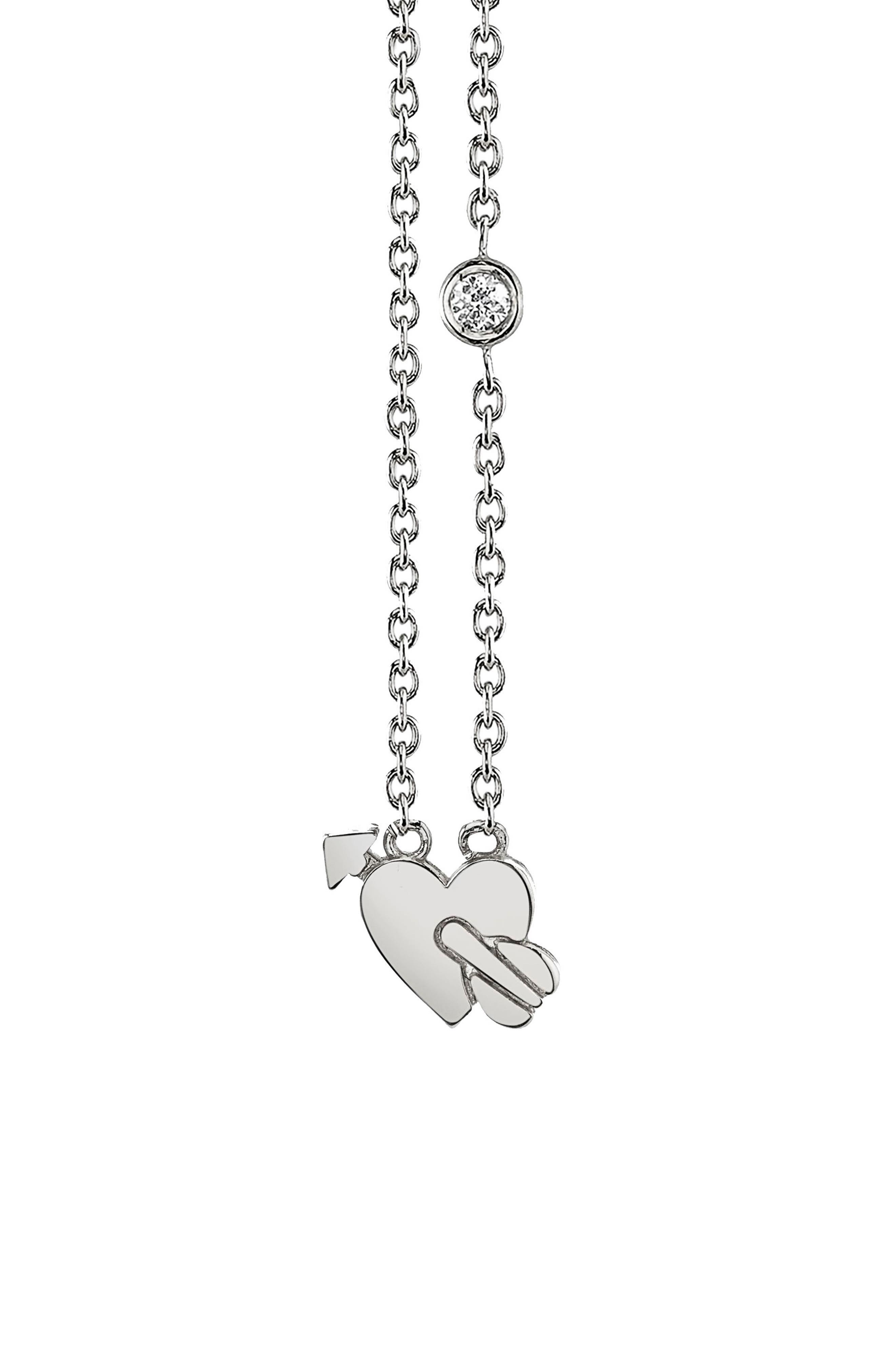 Shy be SE Lovestruck Diamond Emoji Necklace,                             Main thumbnail 1, color,                             SILVER
