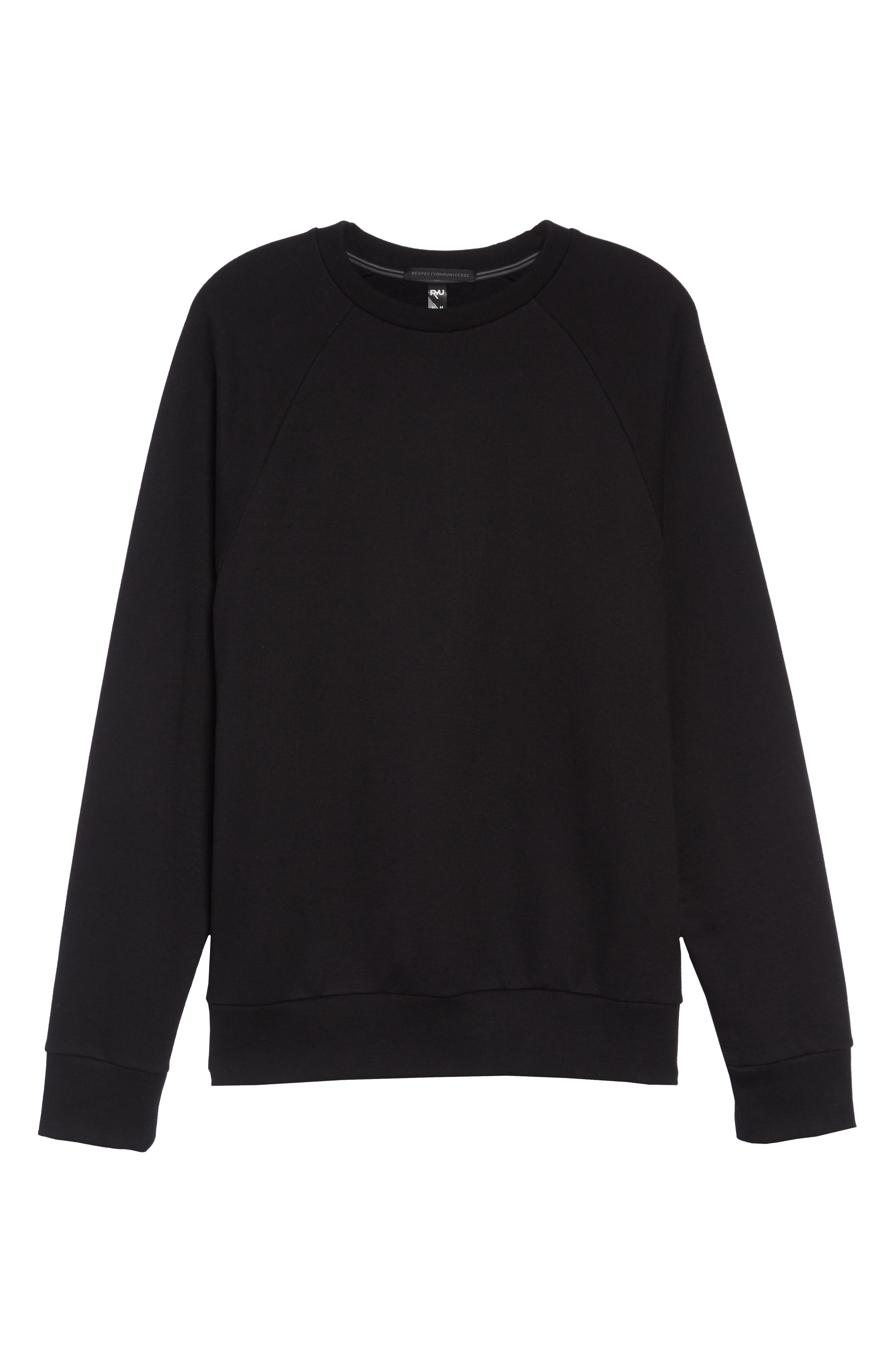Core Fleece Crewneck,                             Alternate thumbnail 6, color,                             BLACK