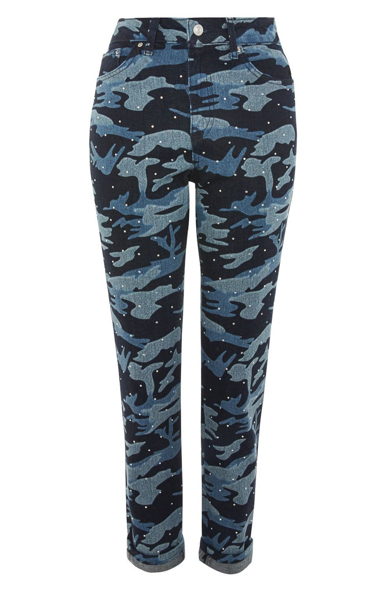TOPSHOP,                             Camo Diamante Mom Jeans,                             Alternate thumbnail 4, color,                             402