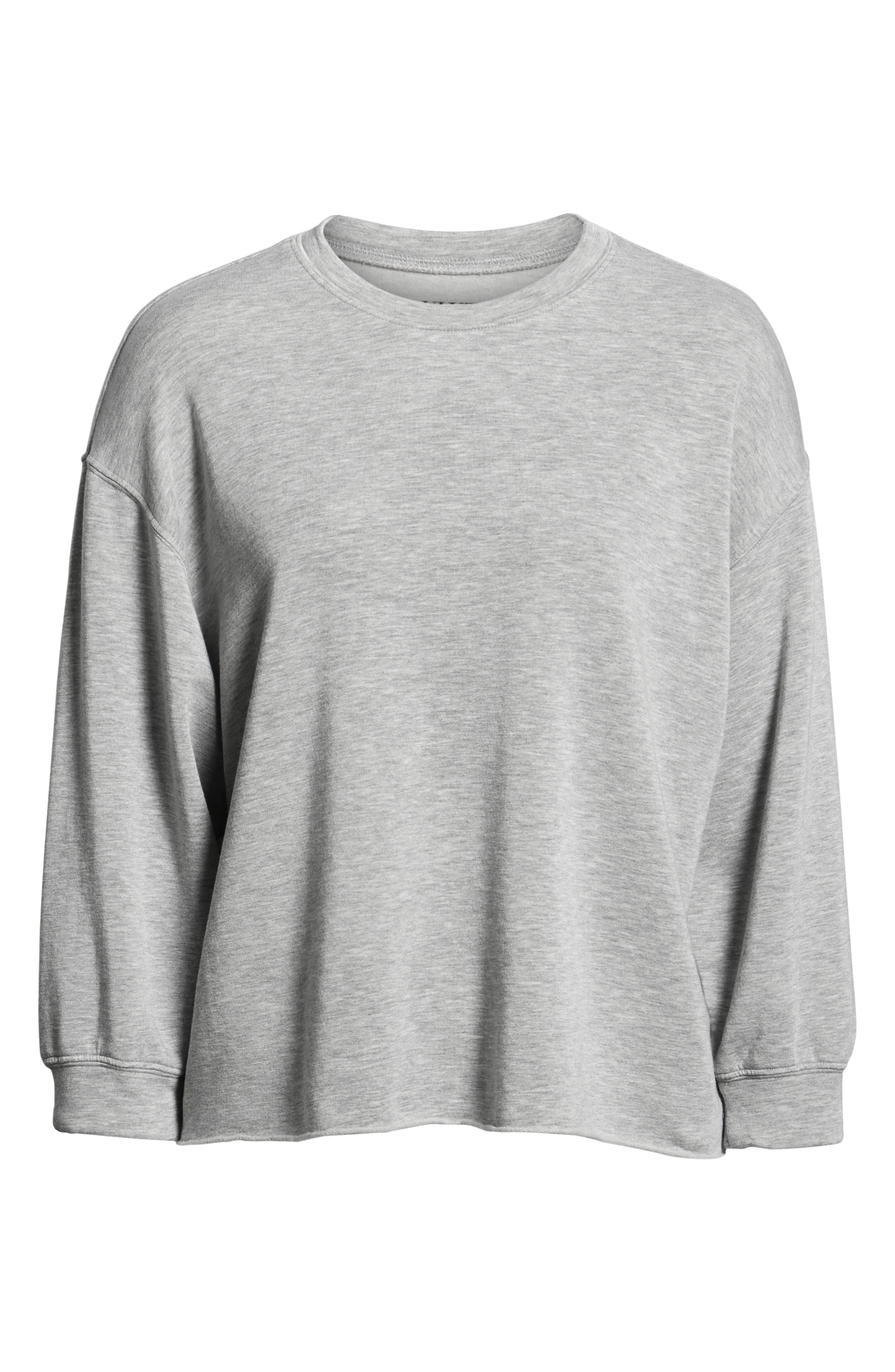 Raw Hem Sweatshirt,                             Alternate thumbnail 6, color,                             HEATHER GREY