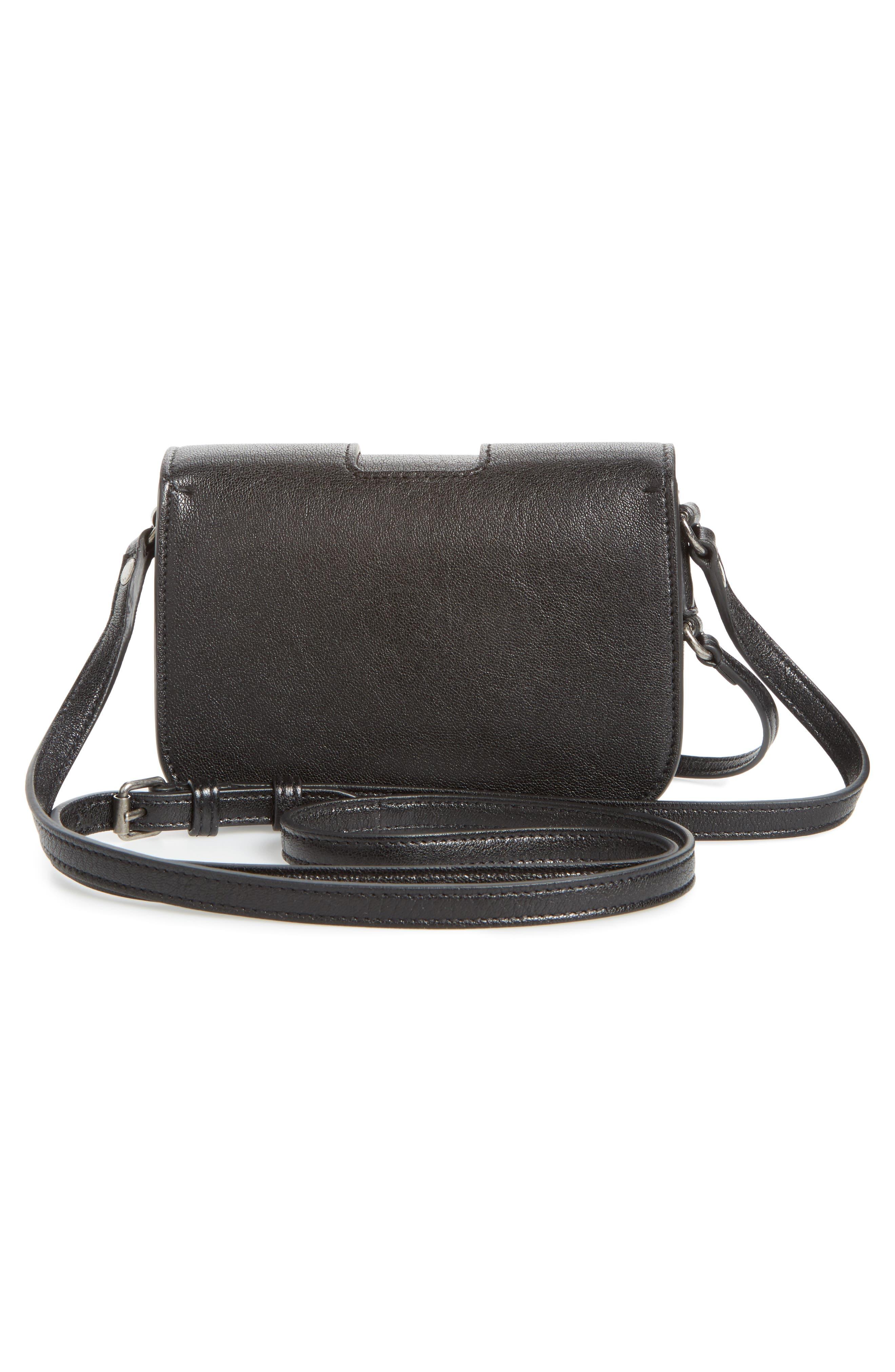 Calfskin Leather Crossbody Bag,                             Alternate thumbnail 3, color,                             001