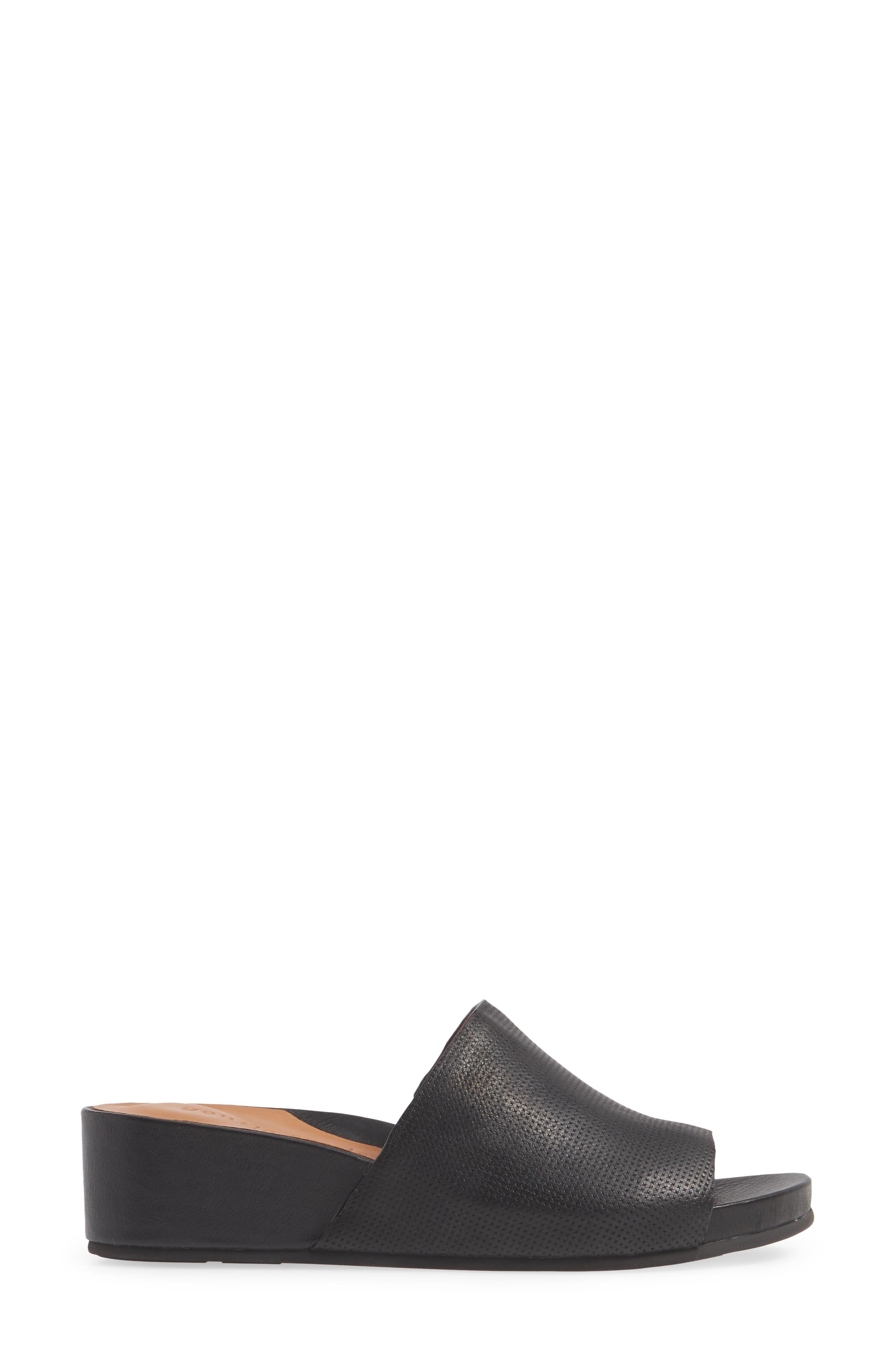 Gisele Wedge Slide Sandal,                             Alternate thumbnail 3, color,                             BLACK LEATHER