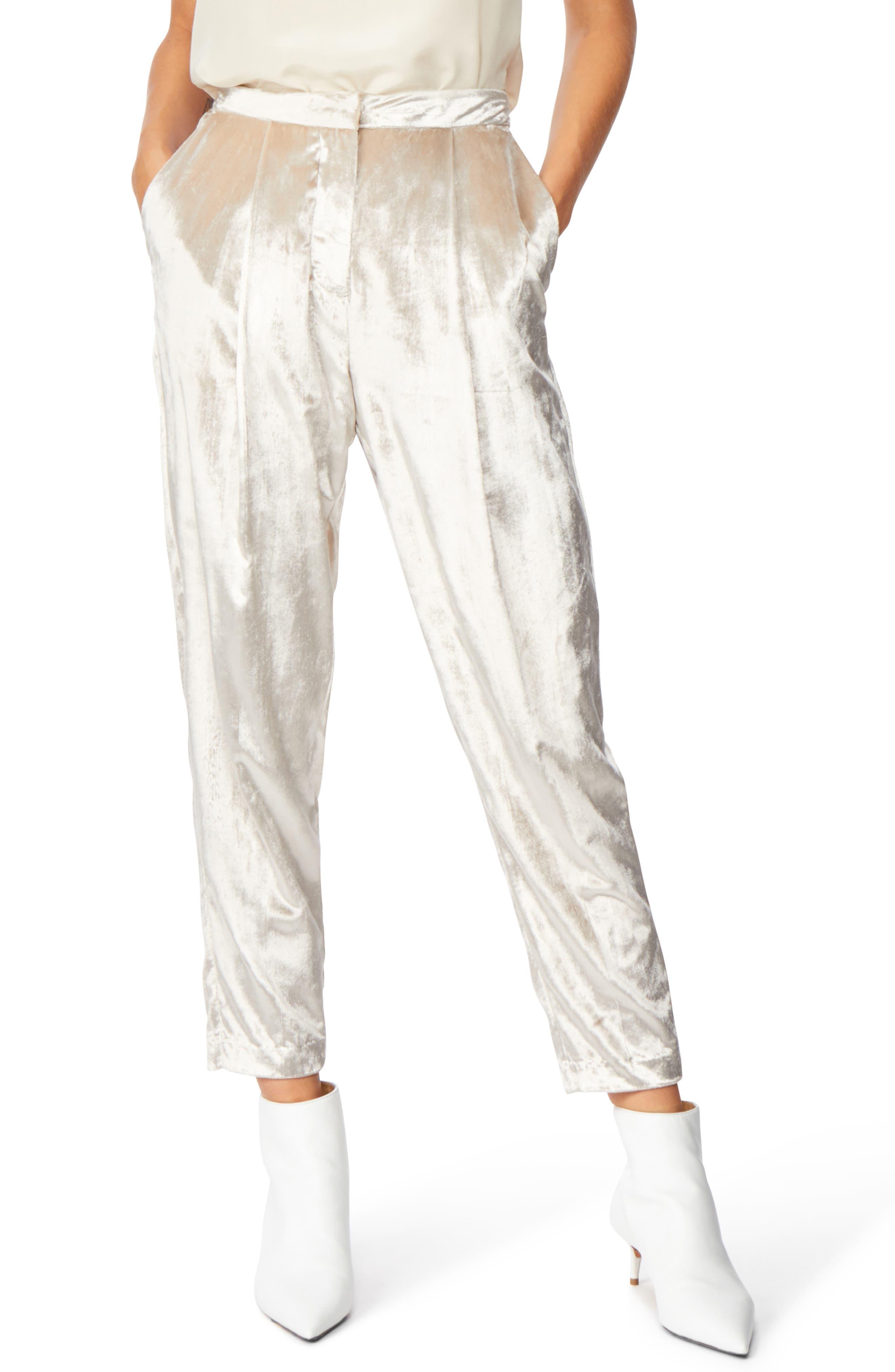Velvet Trousers,                         Main,                         color, CHAMPAGNE