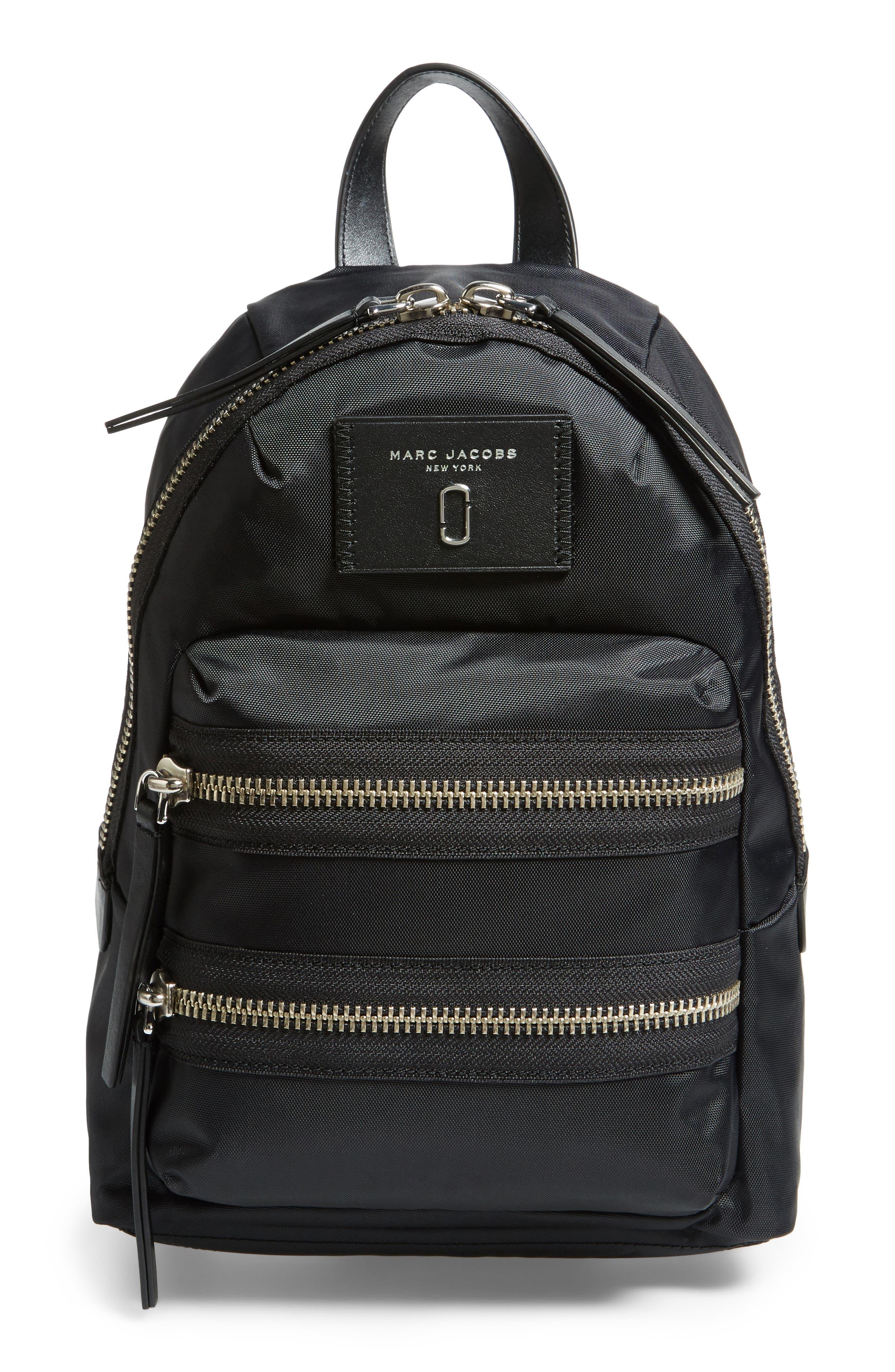 Mini Biker Nylon Backpack,                         Main,                         color, BLACK