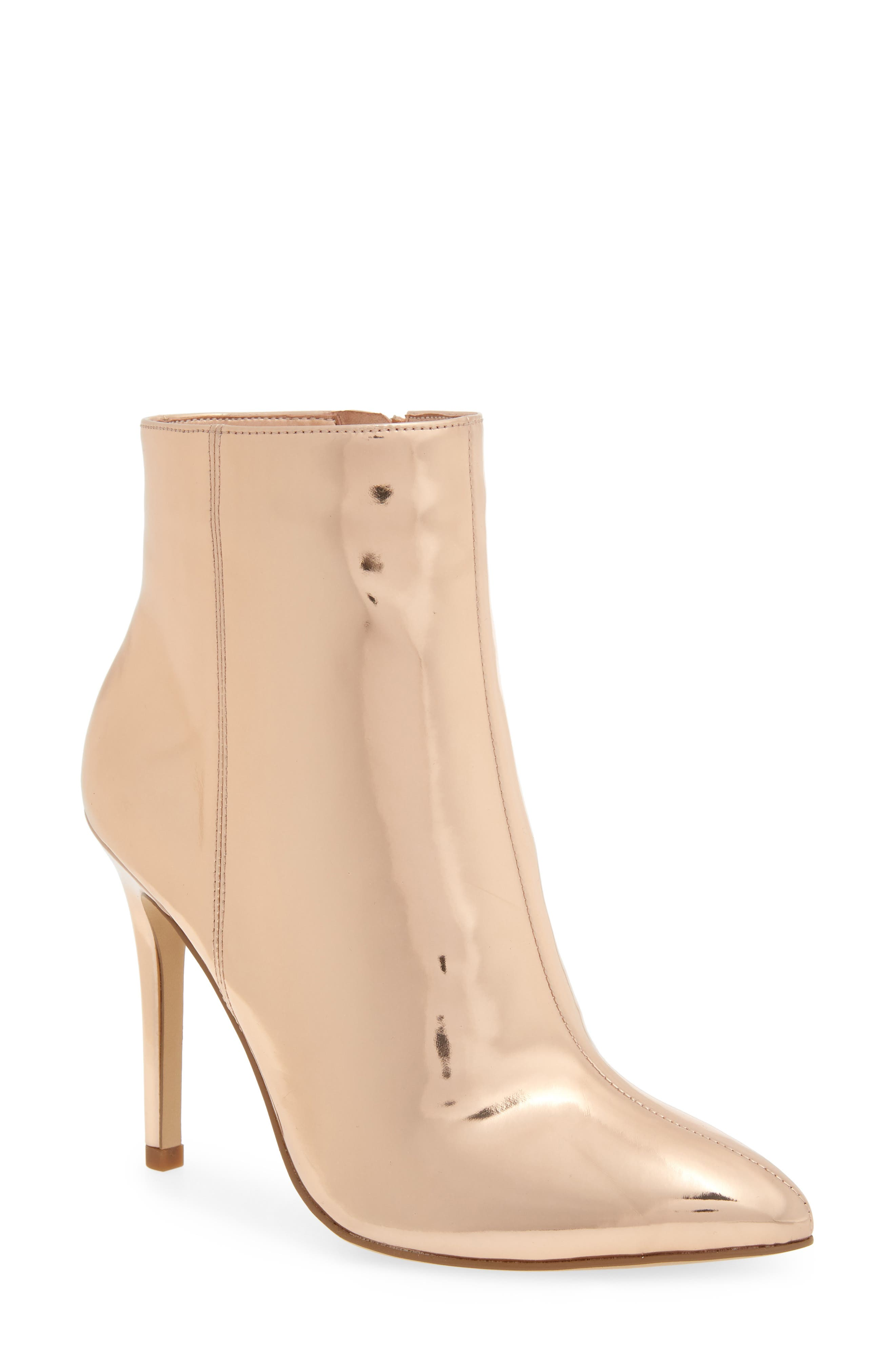 Delicious Bootie,                             Main thumbnail 1, color,                             ROSE GOLD LEATHER