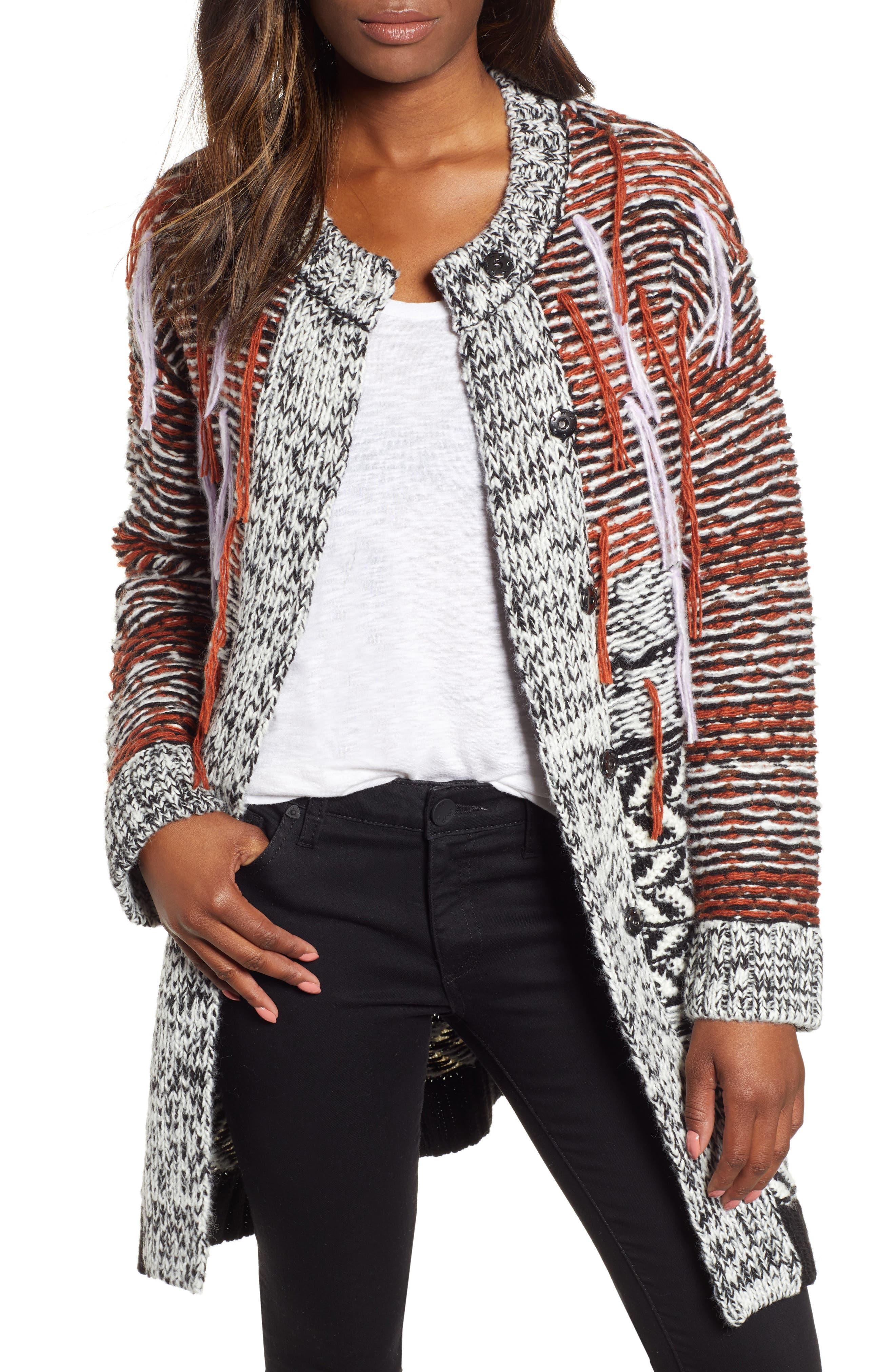 Multi Jacquard Sweater Coat,                             Main thumbnail 1, color,                             001