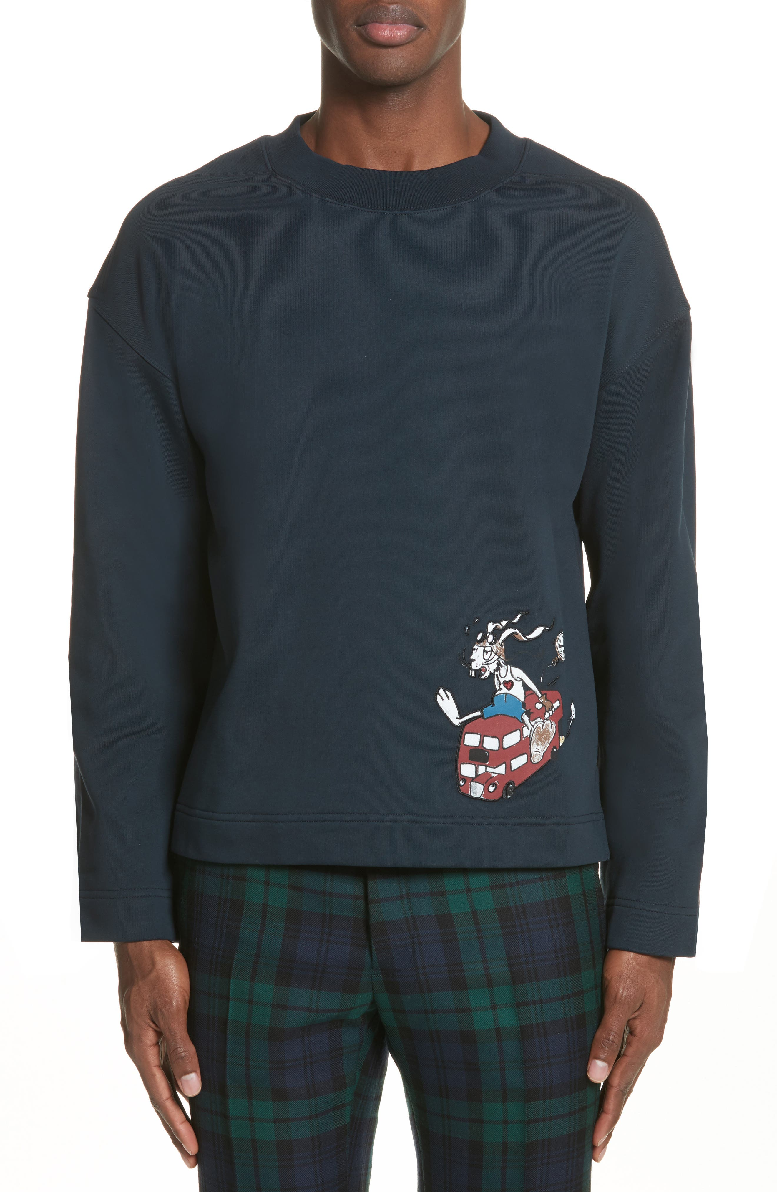 Sketch Print Appliquéd Cropped Sweatshirt,                         Main,                         color,