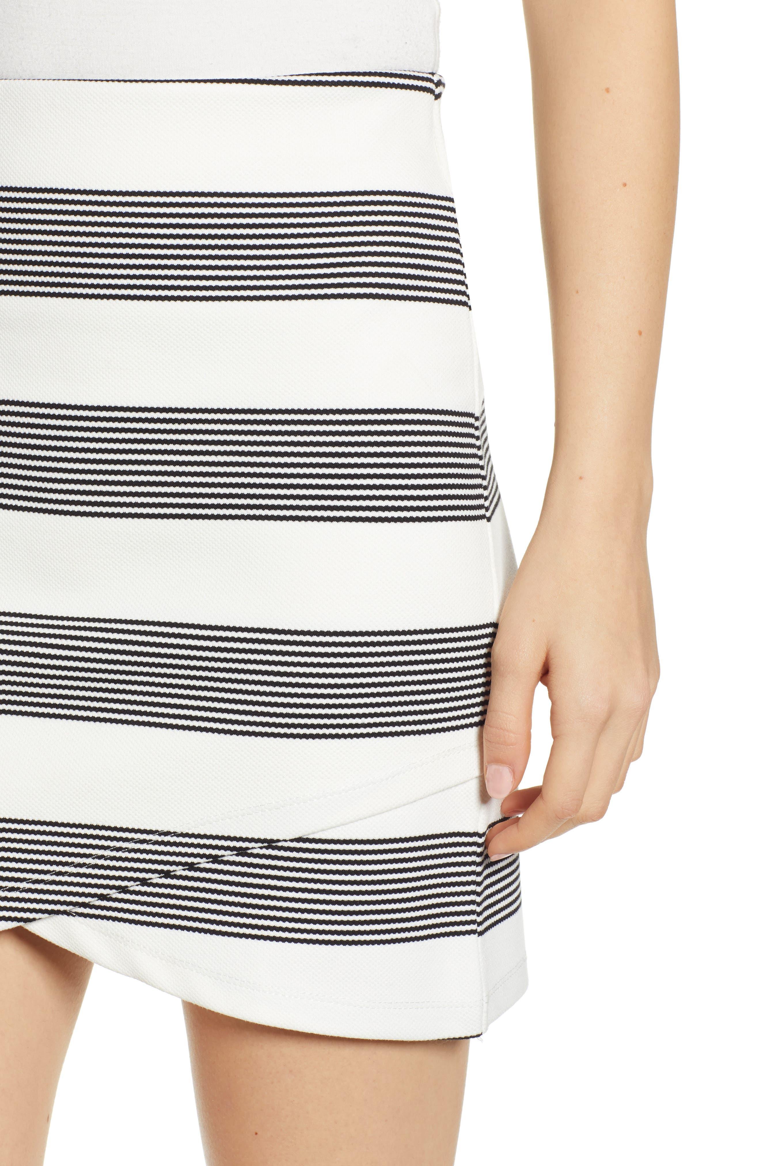 Stripe Miniskirt,                             Alternate thumbnail 4, color,                             BLACK STRIPE