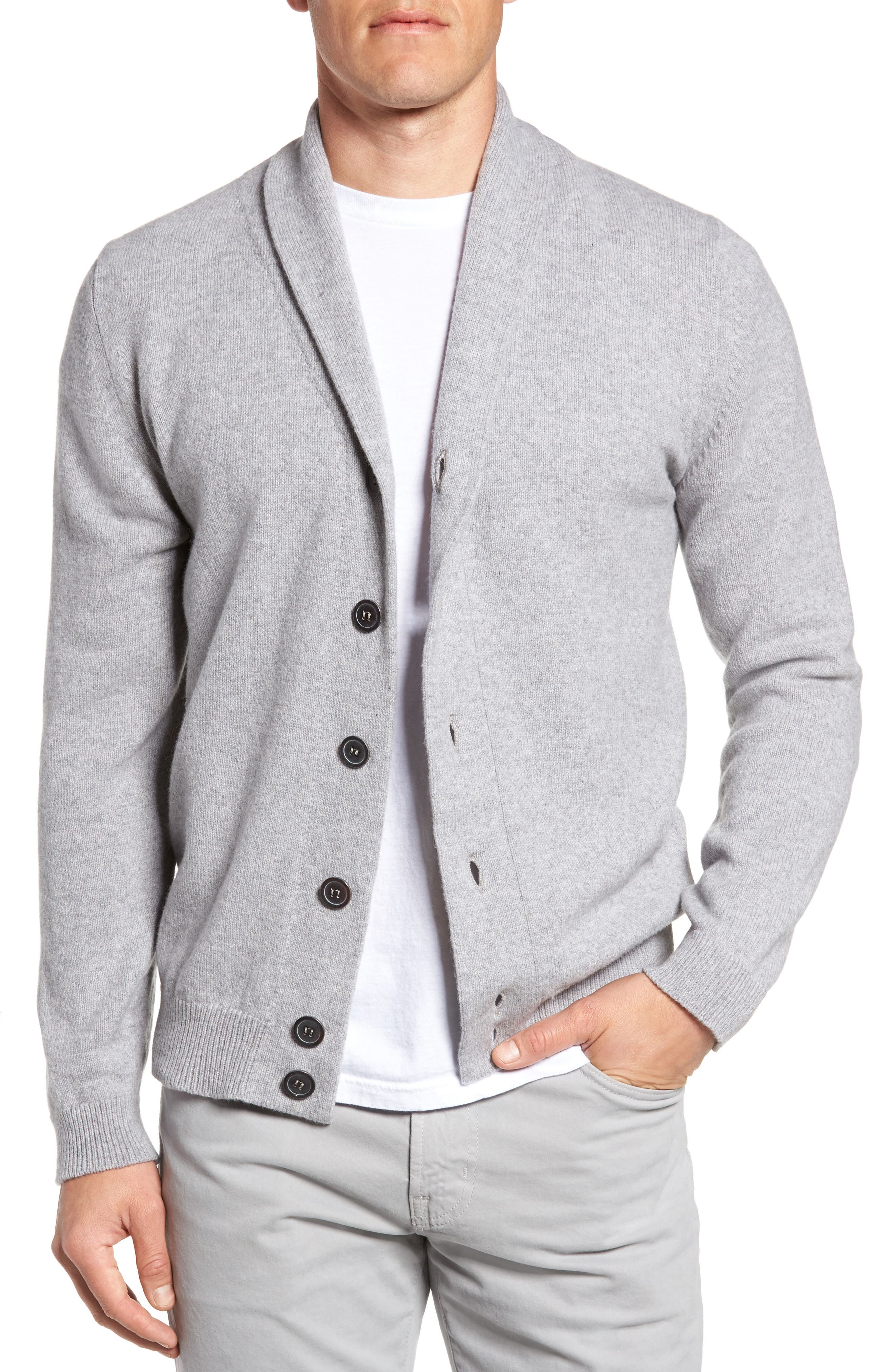 Slim Fit Merino Wool & Cashmere Cardigan,                             Main thumbnail 1, color,