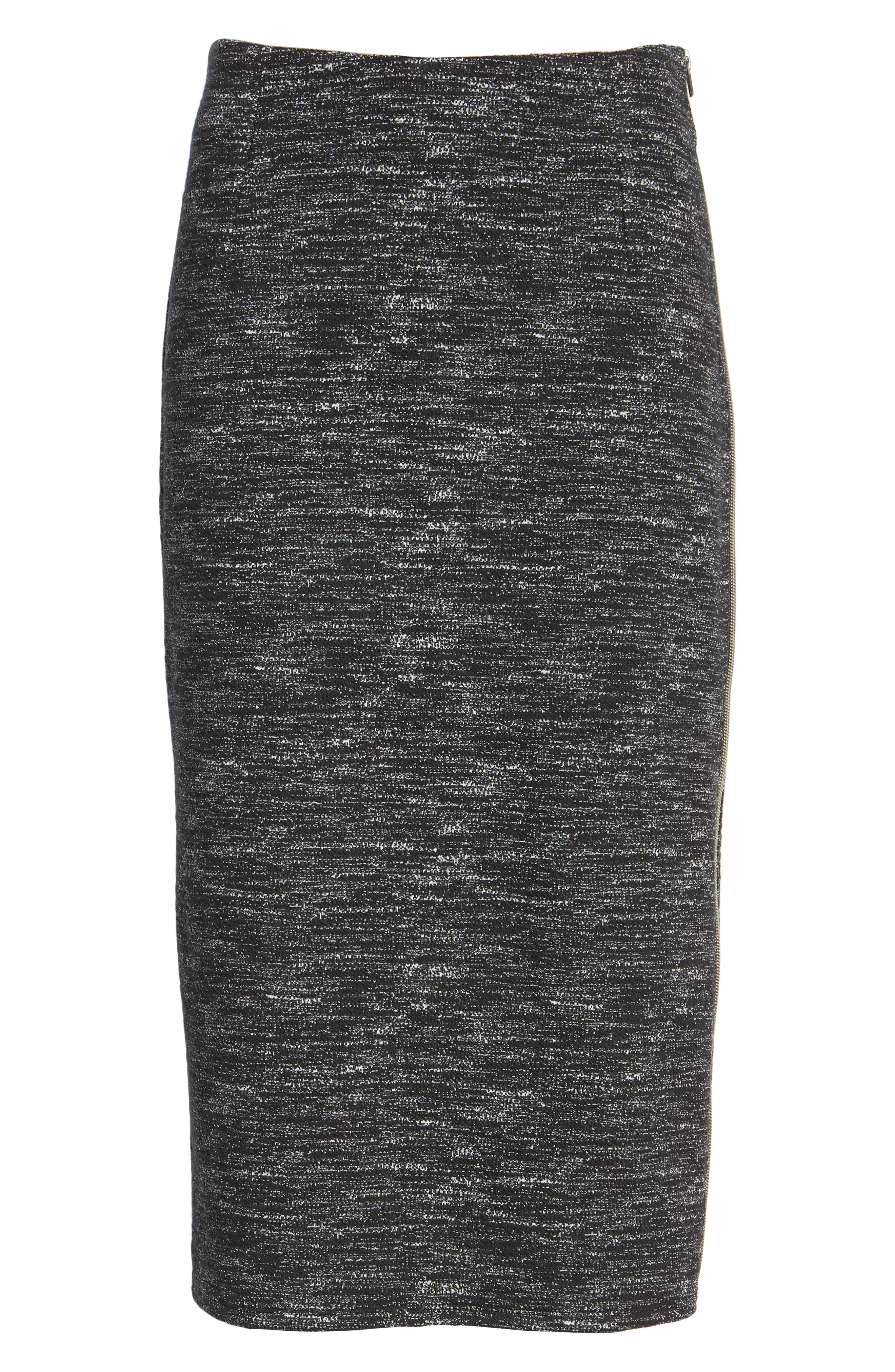 Side Zip Ponte Pencil Skirt,                             Alternate thumbnail 6, color,                             001