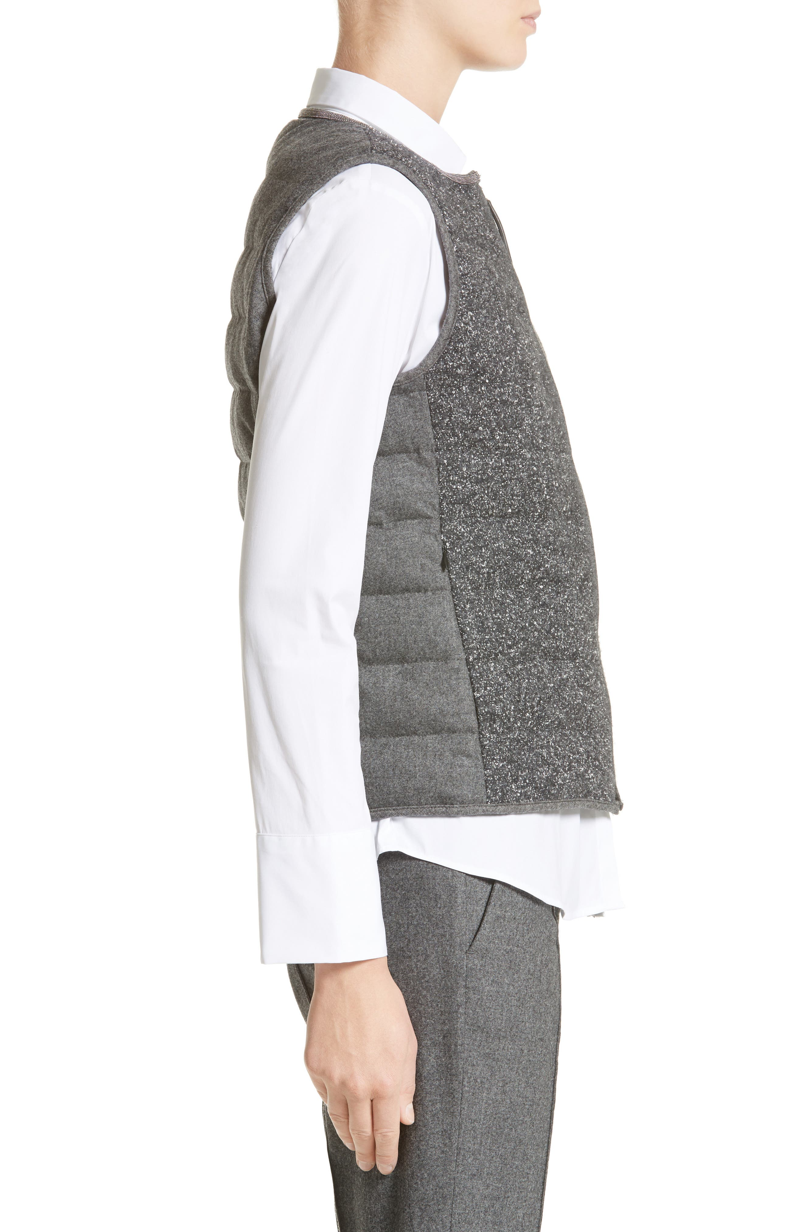 Pebbled Knit Front Quilted Down Vest,                             Alternate thumbnail 3, color,                             021