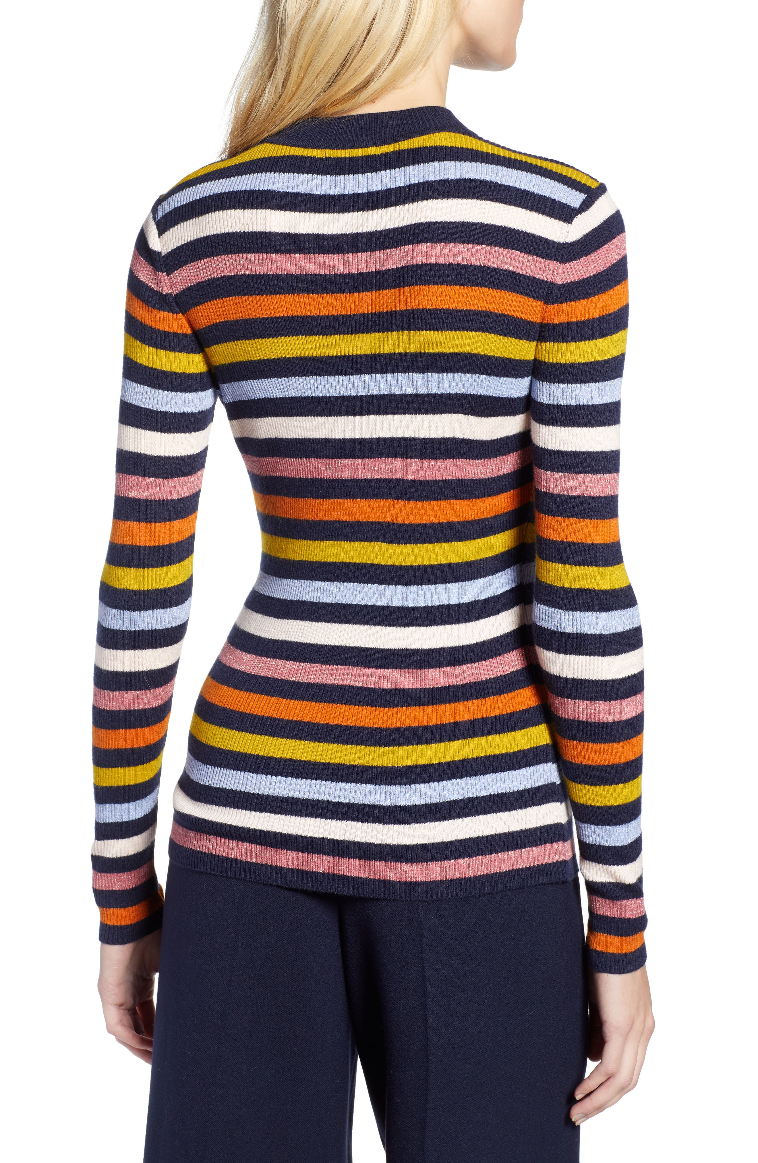 x Atlantic-Pacific Shimmer Stripe Sweater,                             Alternate thumbnail 3, color,                             NAVY MULTI STRIPE